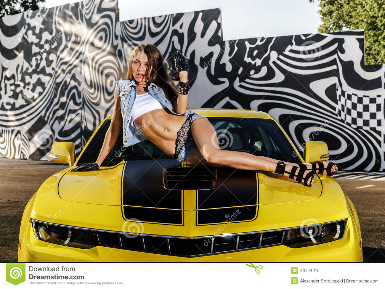 fille de luxe de charme et voiture de sport jaune photo stock image du adulte attrayant 43724910. Black Bedroom Furniture Sets. Home Design Ideas