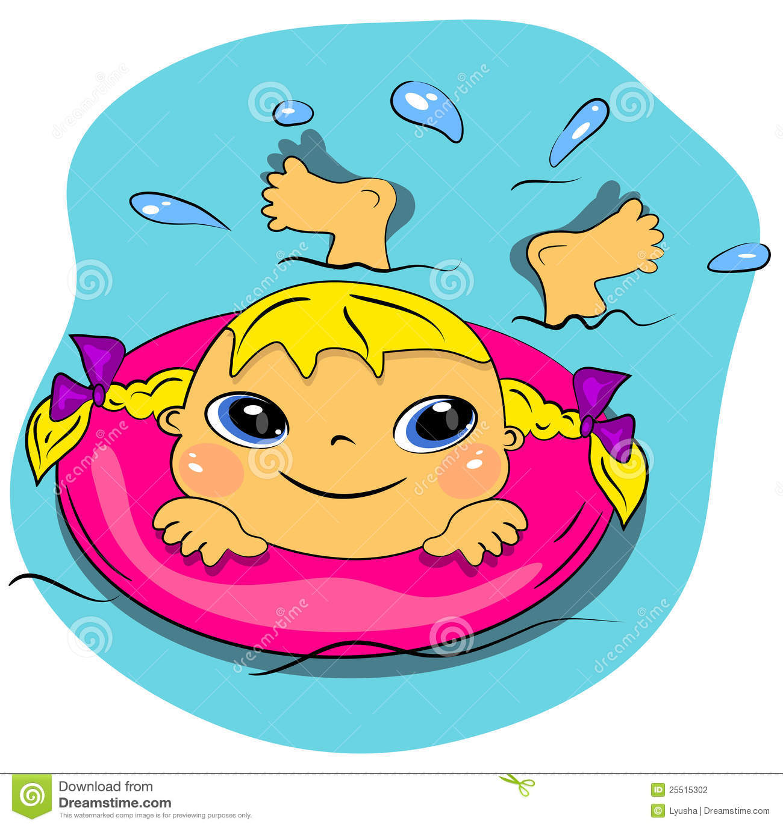 Fille de natation de dessin anim en vacances de plage de - Natation dessin ...
