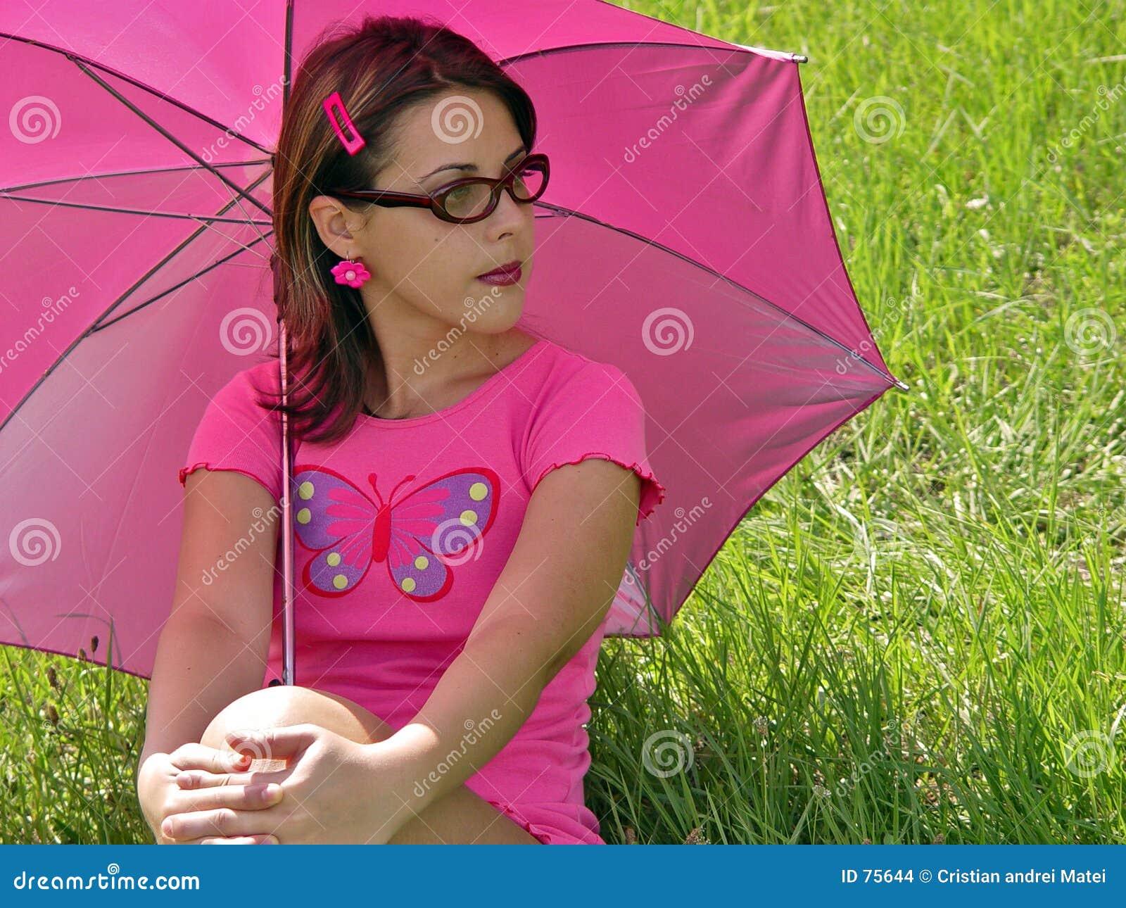 Fille de parapluie