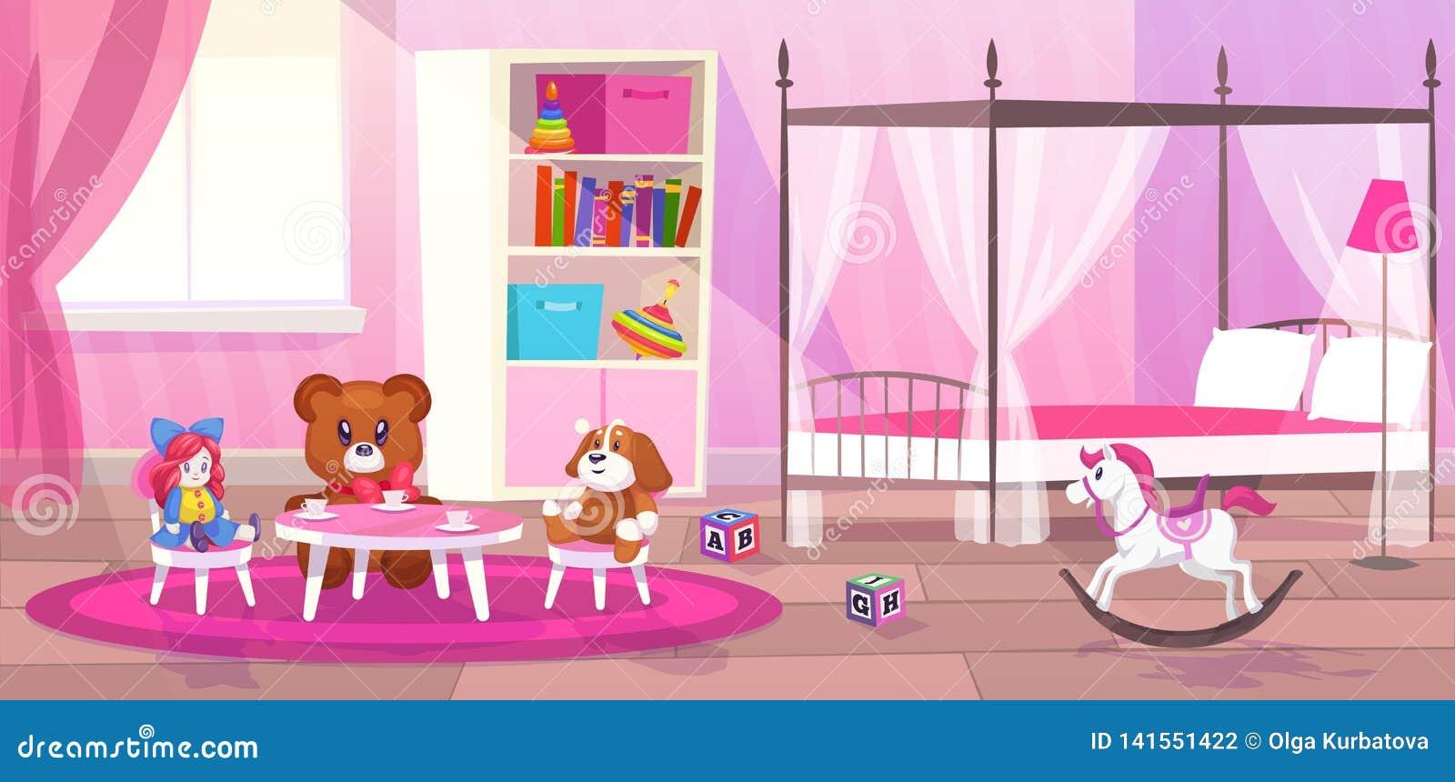 Fille de pièce de lit Bande dessinée plate de filles de chambre à coucher d enfant d appartement de jouets de stockage de décor d