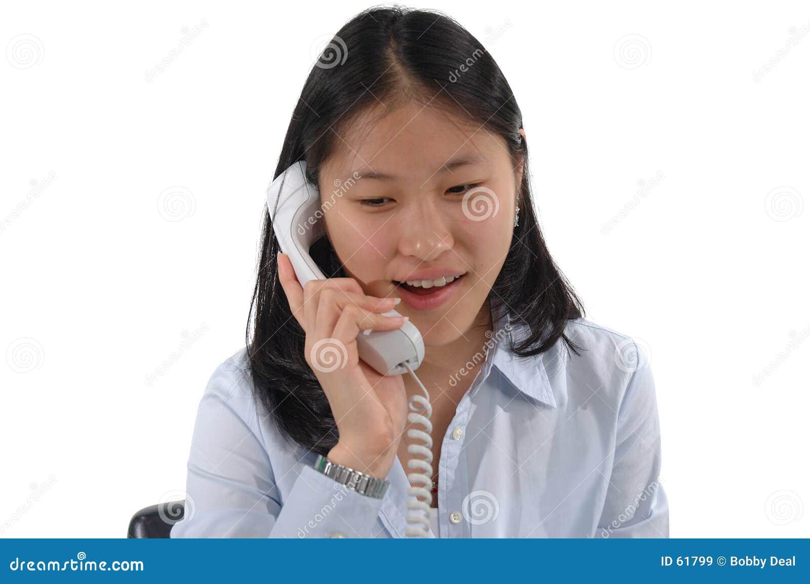 Download Fille de téléphone image stock. Image du cellule, asiatique - 61799