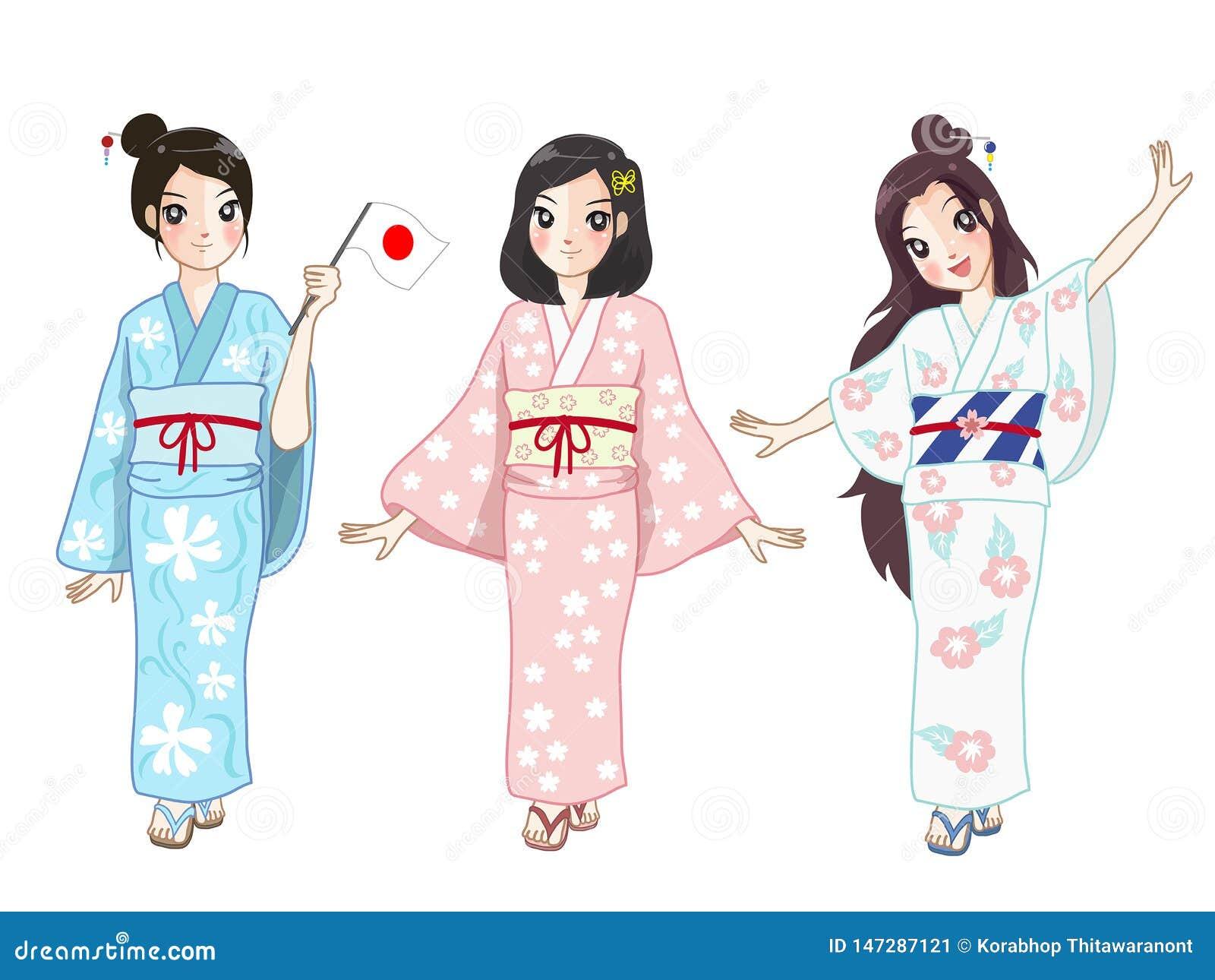 Fille de trois Japon dans la robe