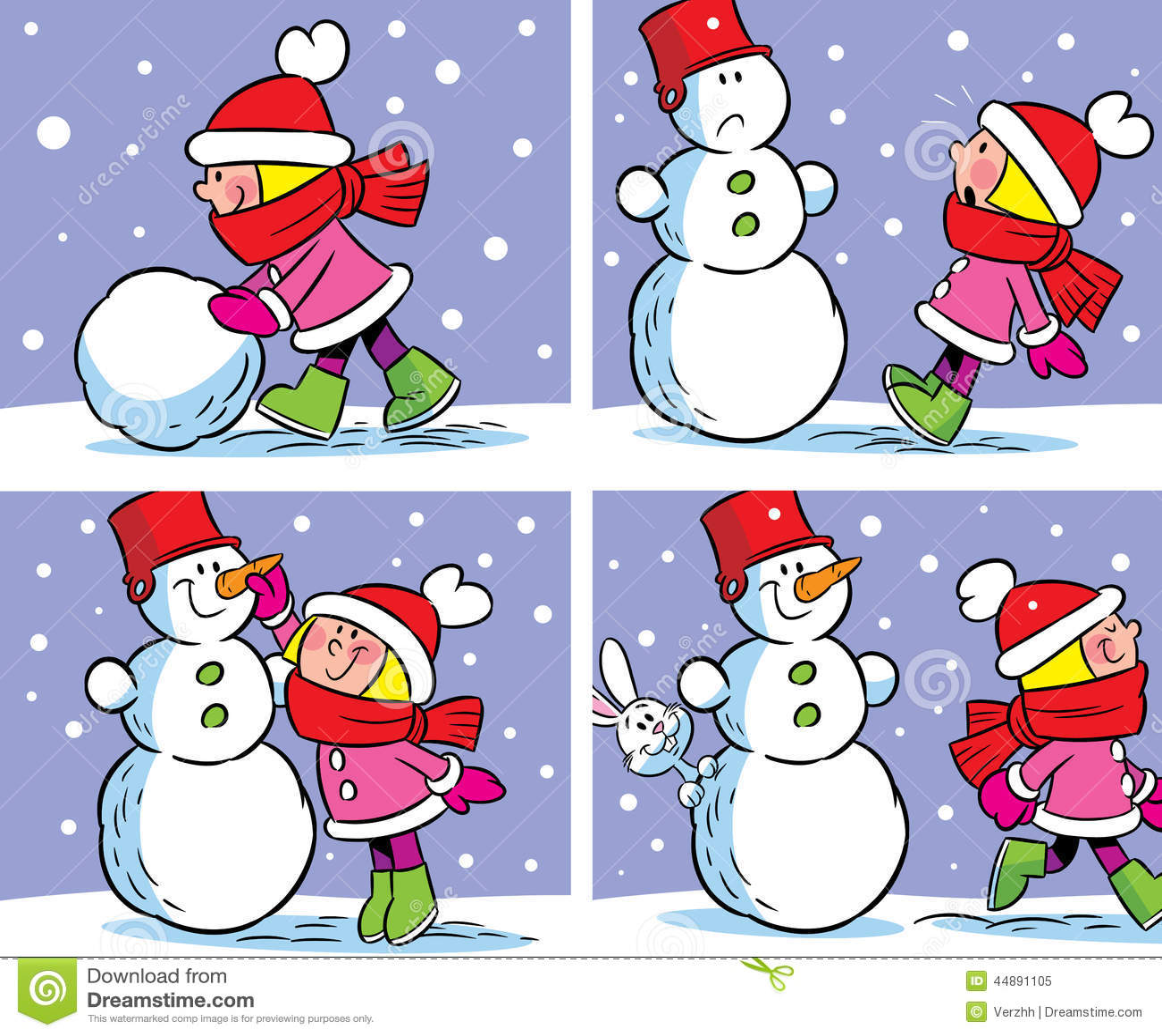Fille et bonhomme de neige illustration de vecteur illustration du loisirs 44891105 - Bonhomme fille ...