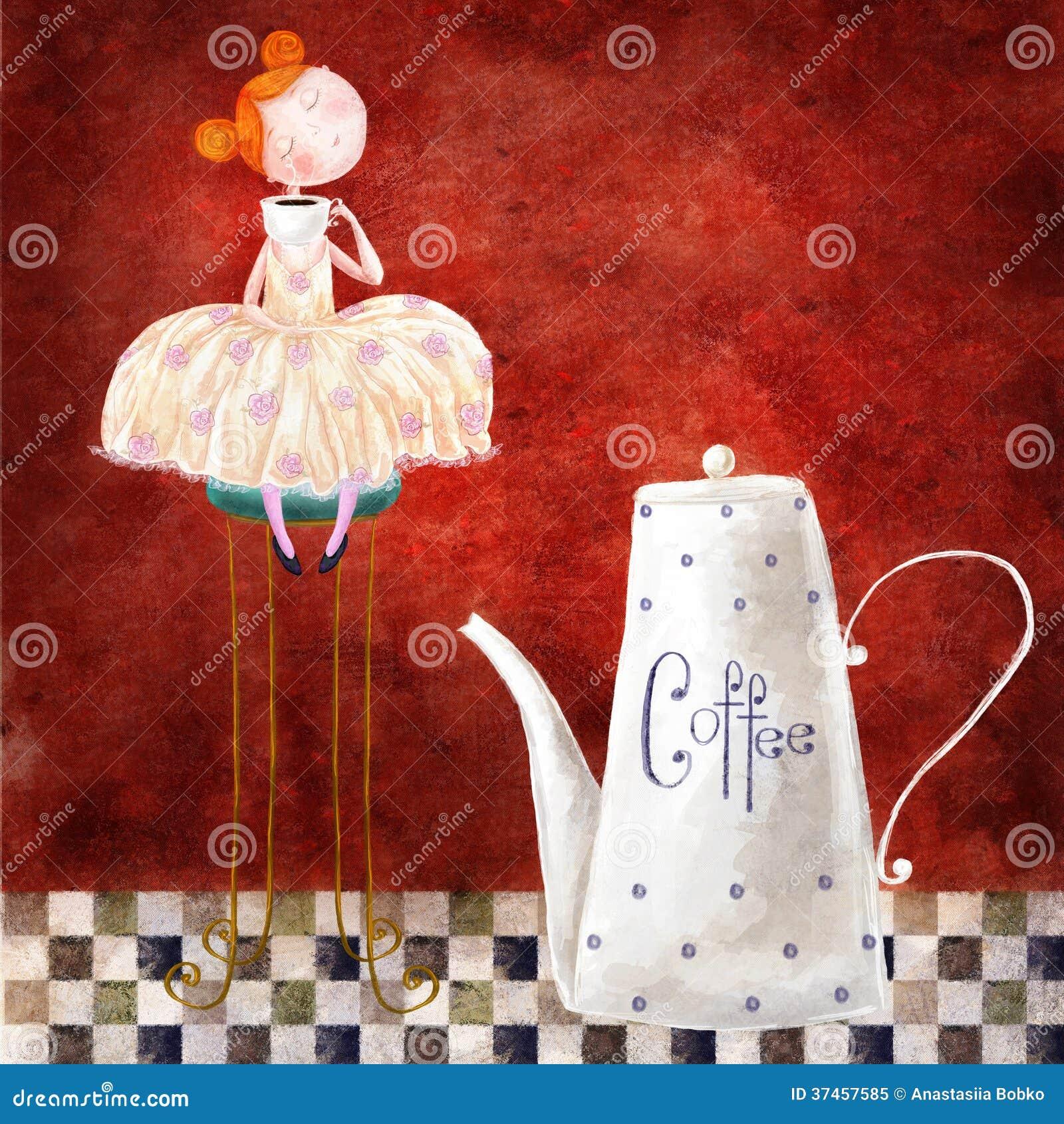 Fille et café
