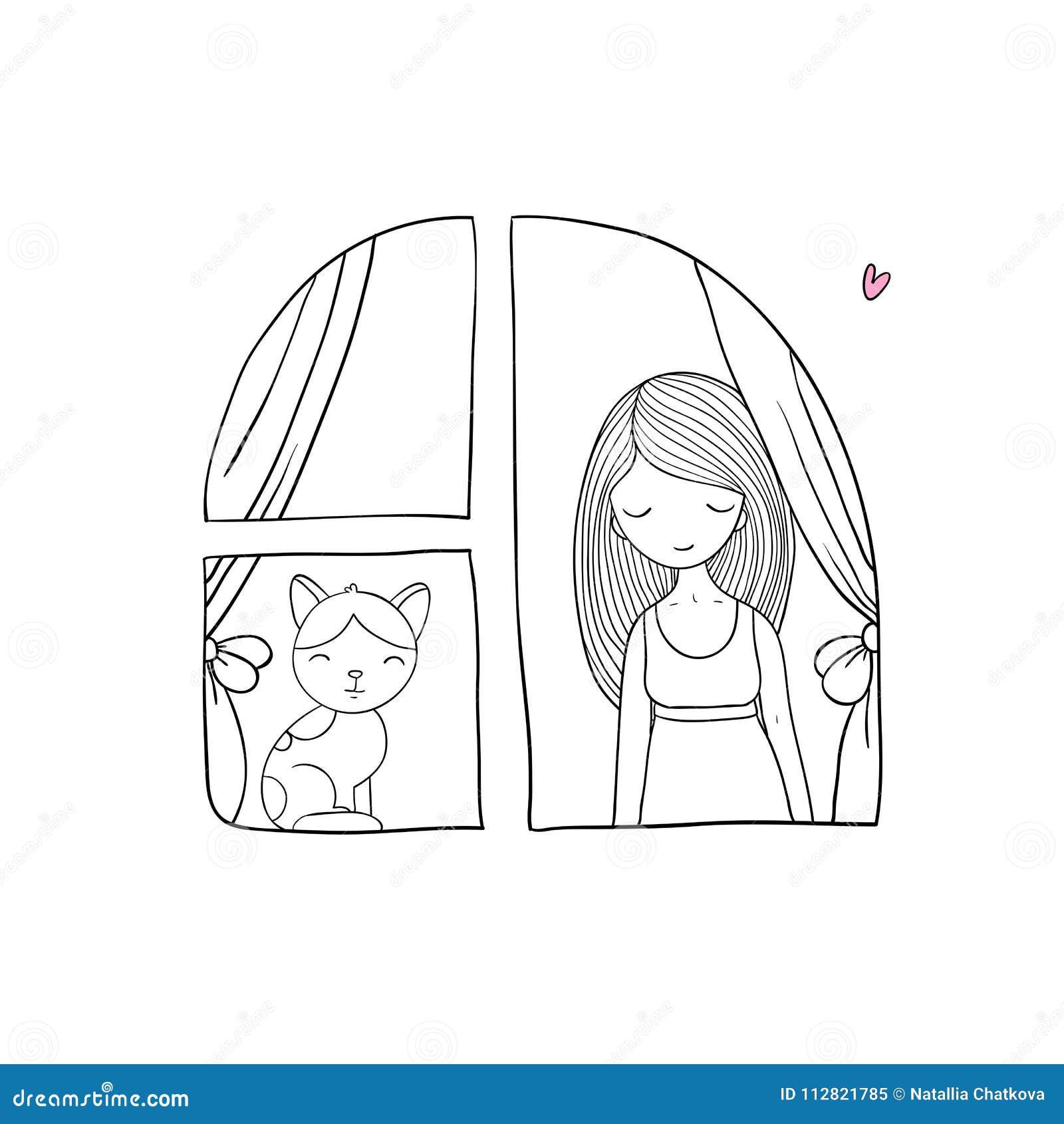 Fille et chat à la fenêtre