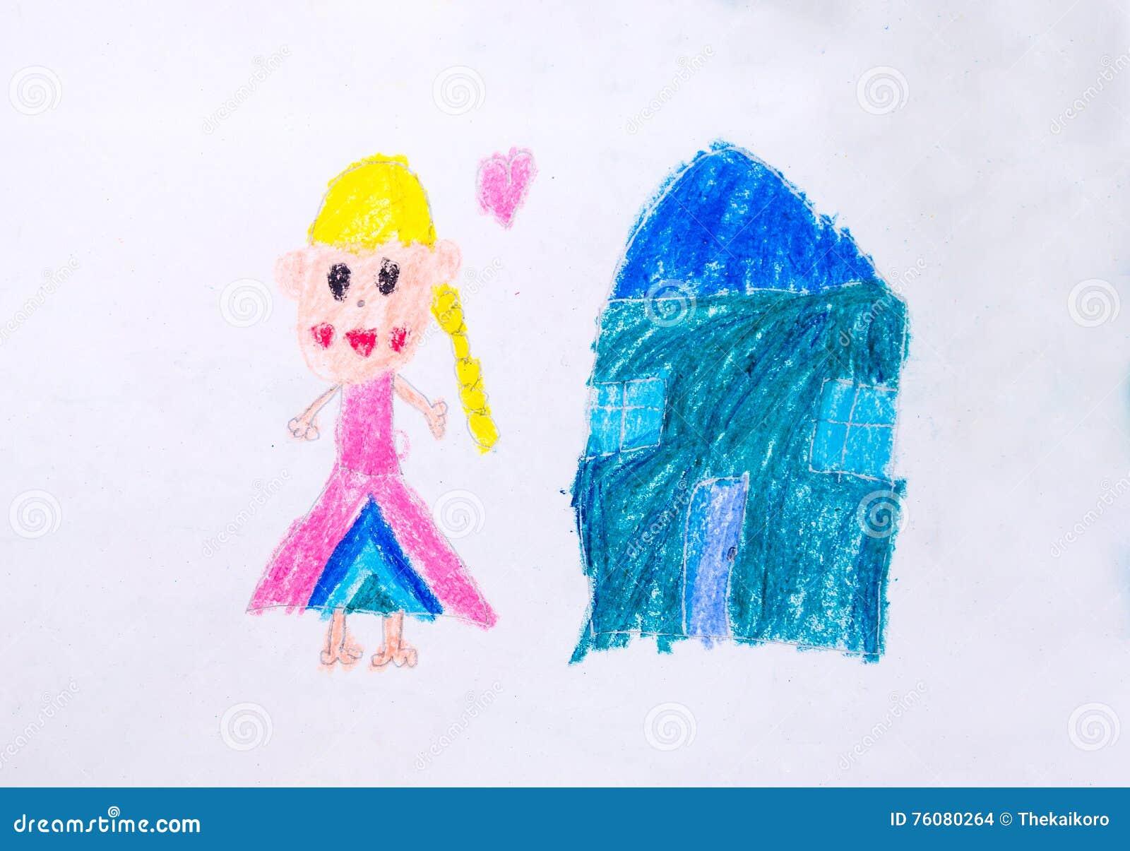 Fille et dessin à la maison par couleur de crayon
