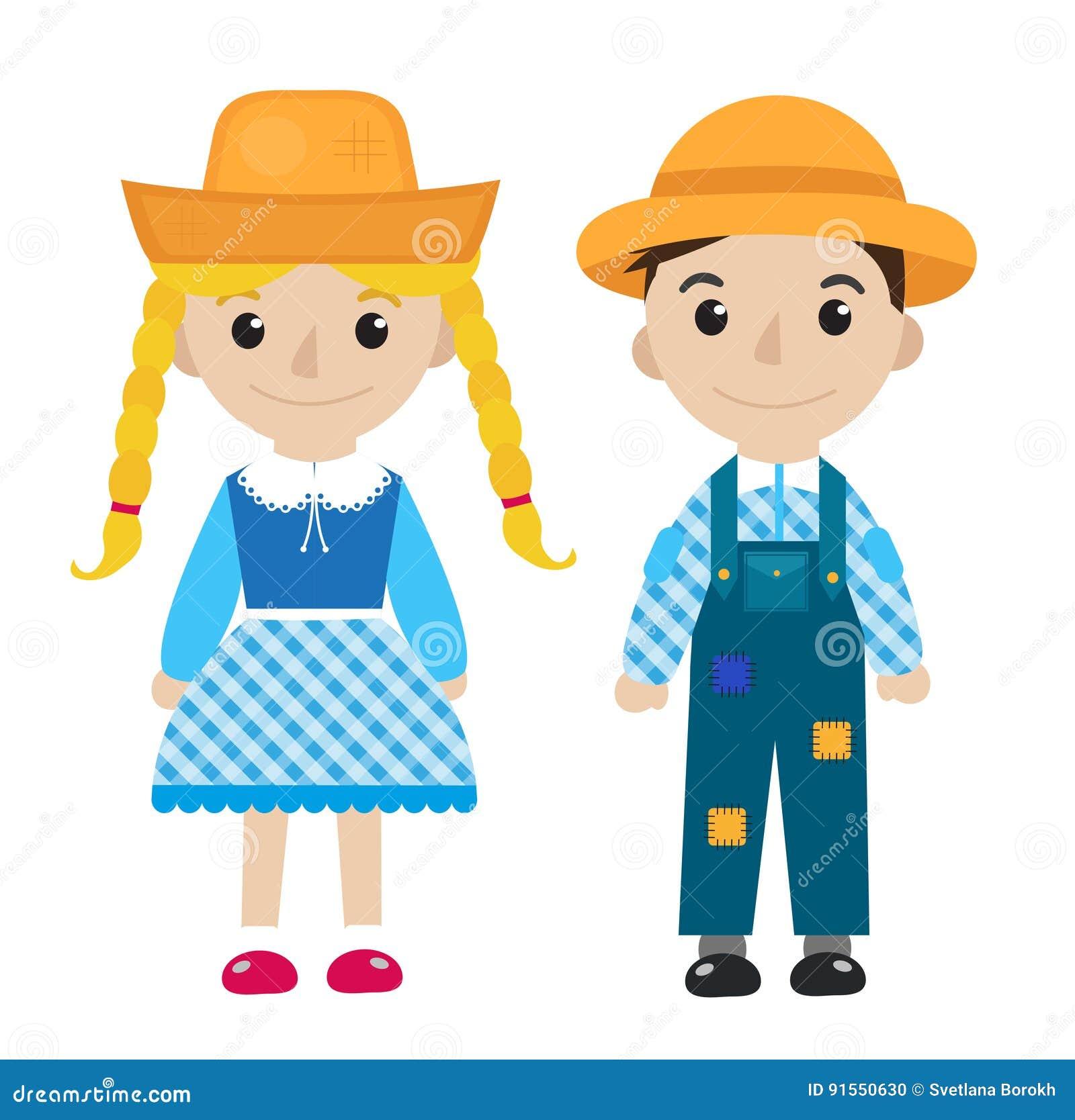 Fille et garçon de Festa Junina dans l icône de fête traditionnelle de costume plate, style de bande dessinée D isolement sur le