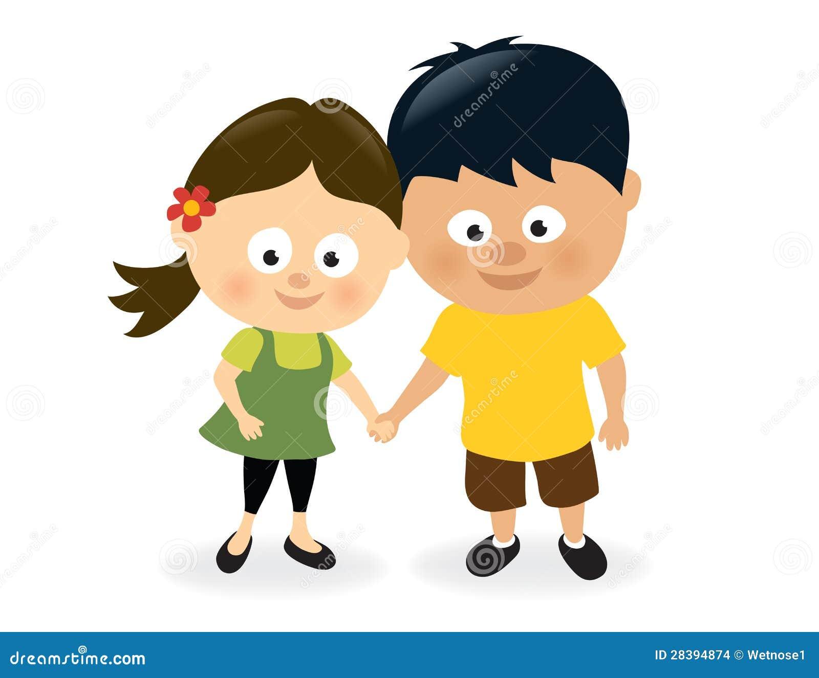 Fille et garçon retenant des mains