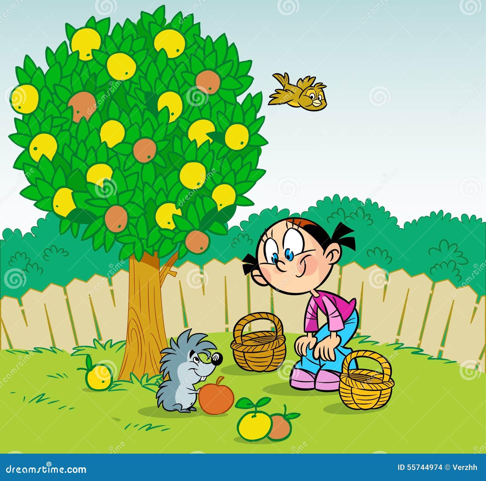 Fille et h risson dans le jardin illustration de vecteur for Dans le jardin