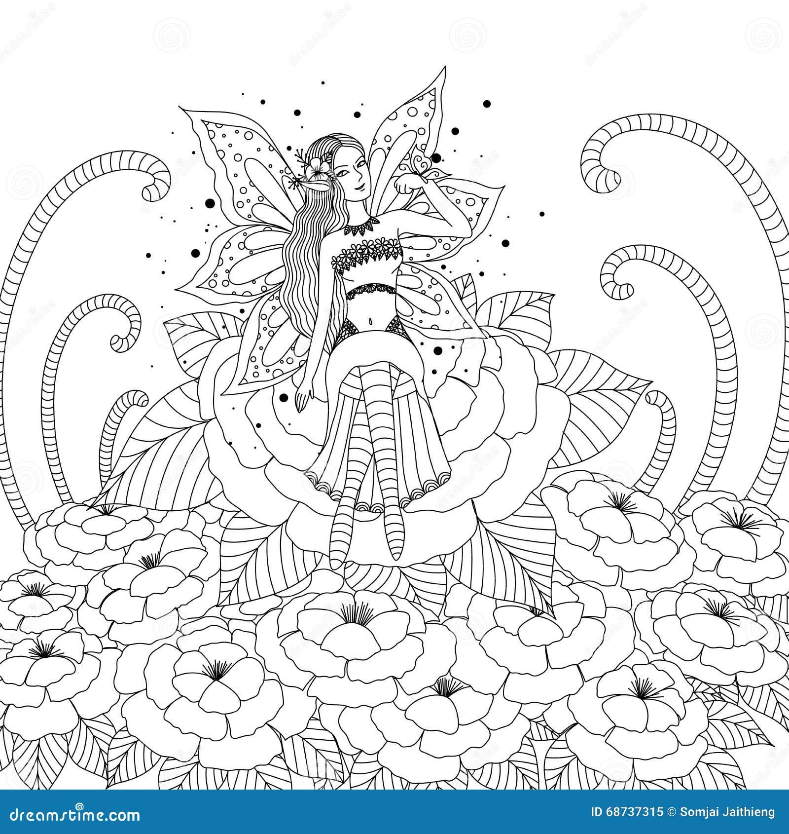 Fille féerique jouant avec le papillon dans la conception de forªt de fleur pour livre de