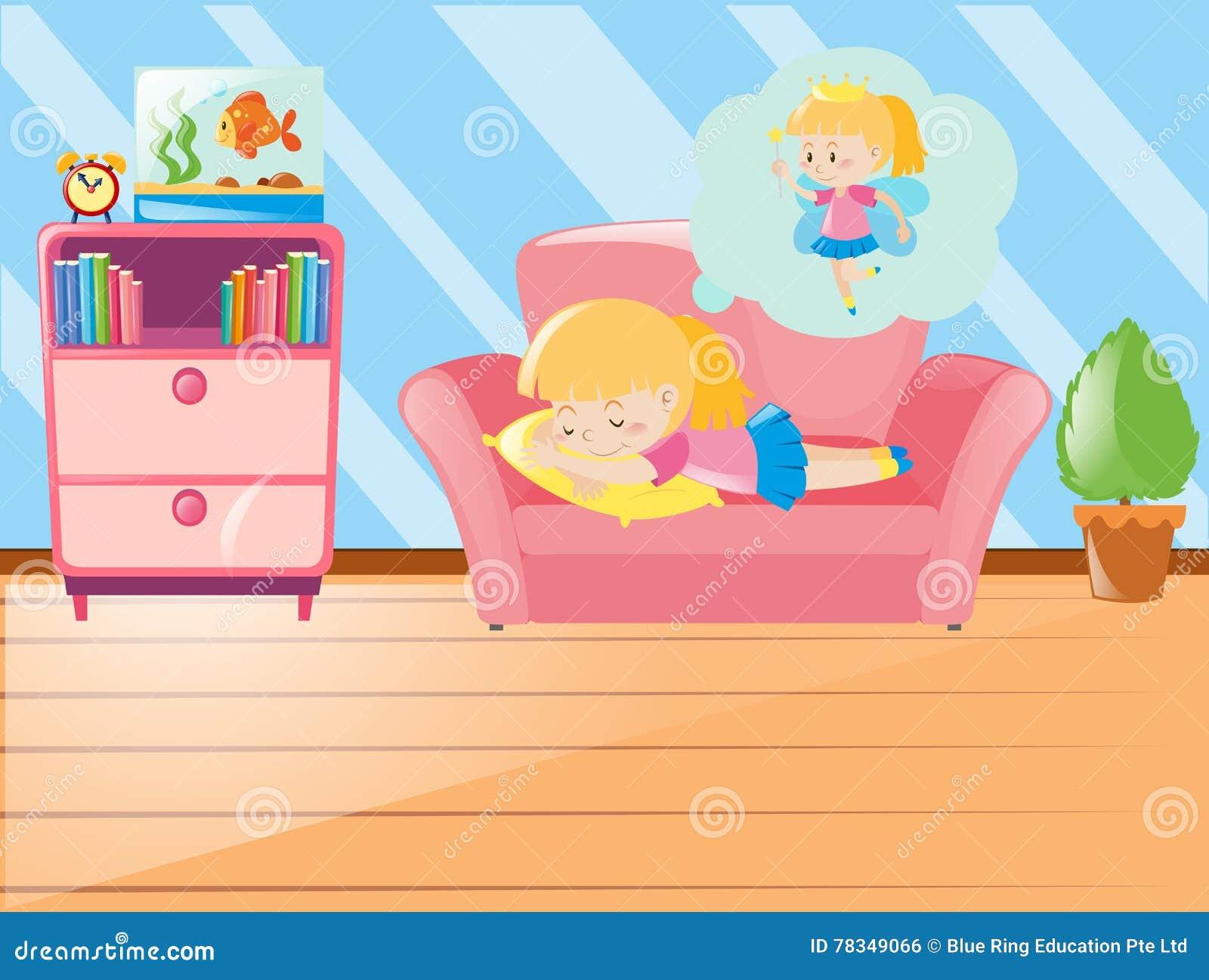 Fille Faisant Une Sieste Sur Le Sofa Dans Le Salon Illustration De