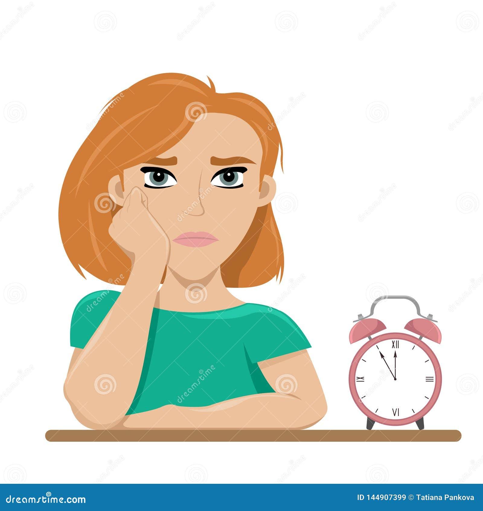 Fille fatigu?e de l attente ennui Longue attente Illustration plate de vecteur