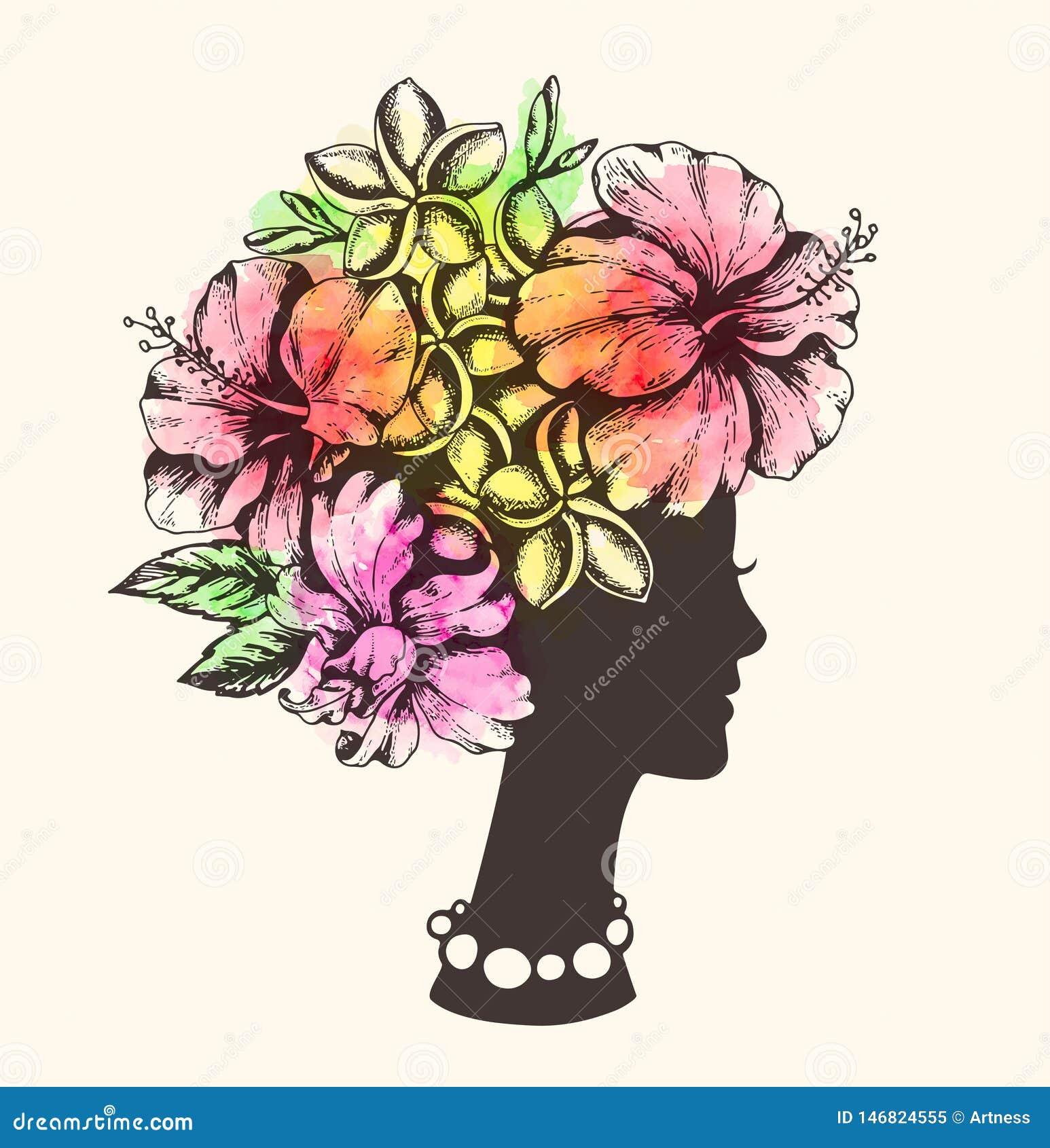 Fille, fleurs tropicales et aquarelle