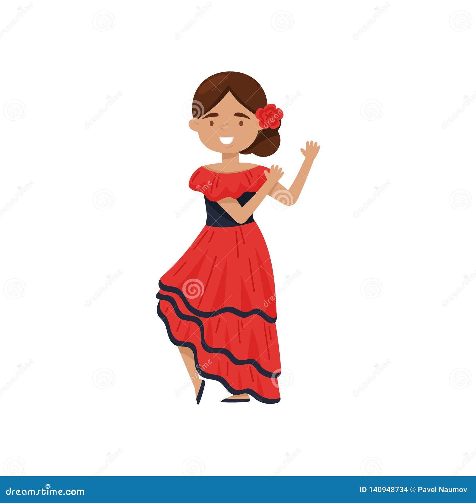 Fille Gaie Dans La Robe Espagnole Traditionnelle Costume De Danseur De Flamenco Equipement National De L Espagne Conception Plate Illustration De Vecteur Illustration Du Plate Espagnole 140948734