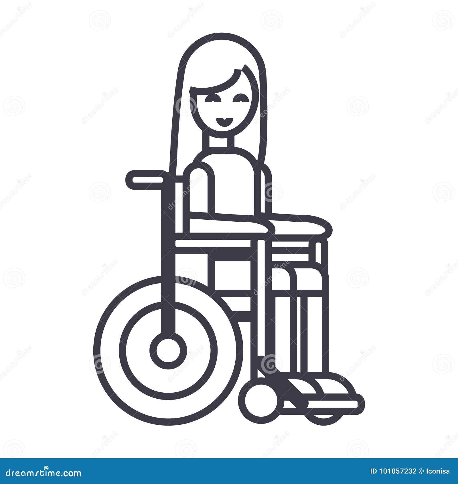 Fille handicapée dans la ligne icône, signe, illustration de vecteur de fauteuil roulant sur le fond, courses editable