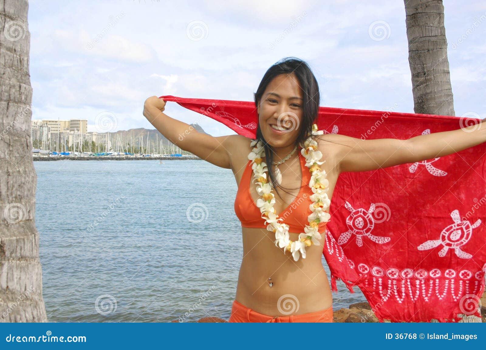 Fille hawaïenne dans le bikini