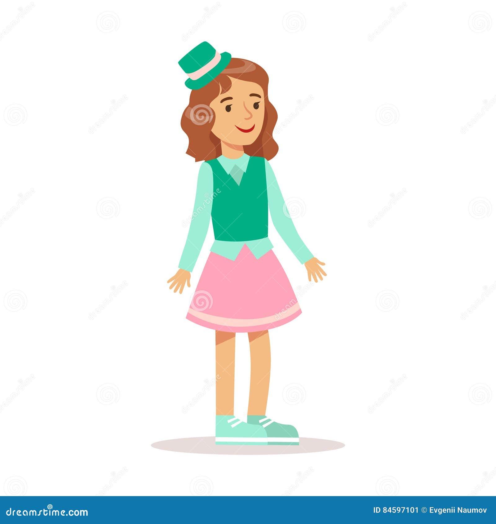 fille heureuse dans des v tements girly classiques de couleur avec le personnage de dessin anim. Black Bedroom Furniture Sets. Home Design Ideas