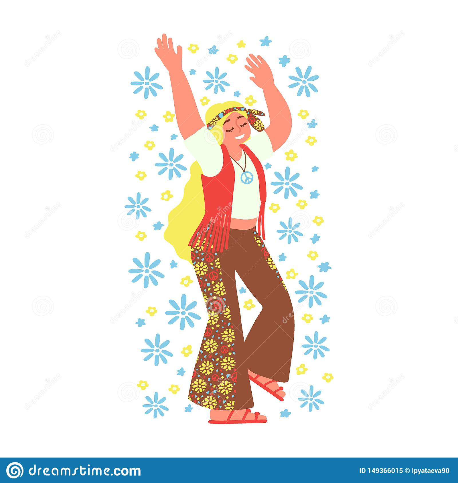 Fille hippie gaie d isolement sur le fond blanc subculture Illustration de vecteur