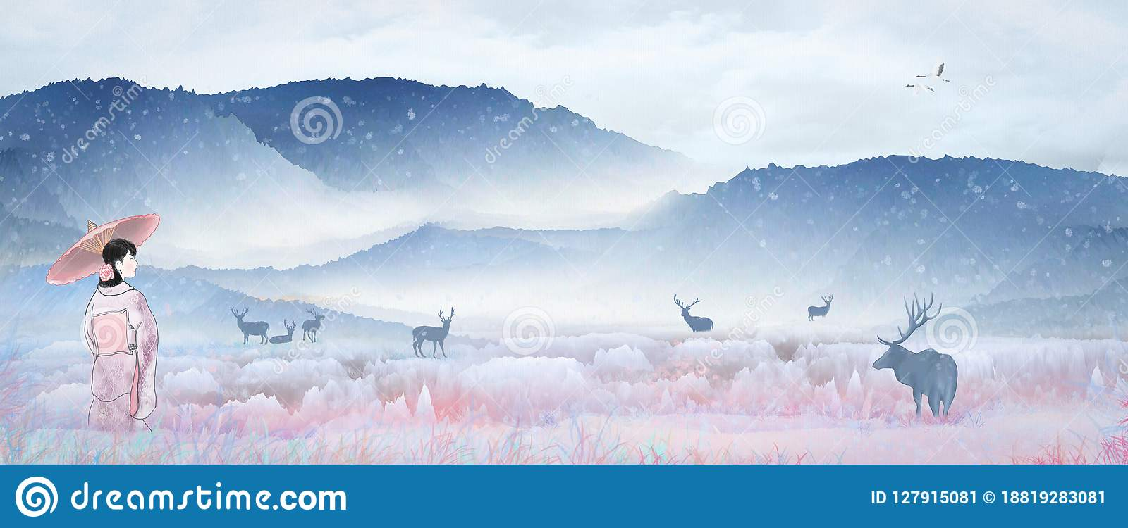 Fille japonaise de kimono d illustration jouant dans le paysage de royaume des fées, cerf commun de sika de neige se reposant au