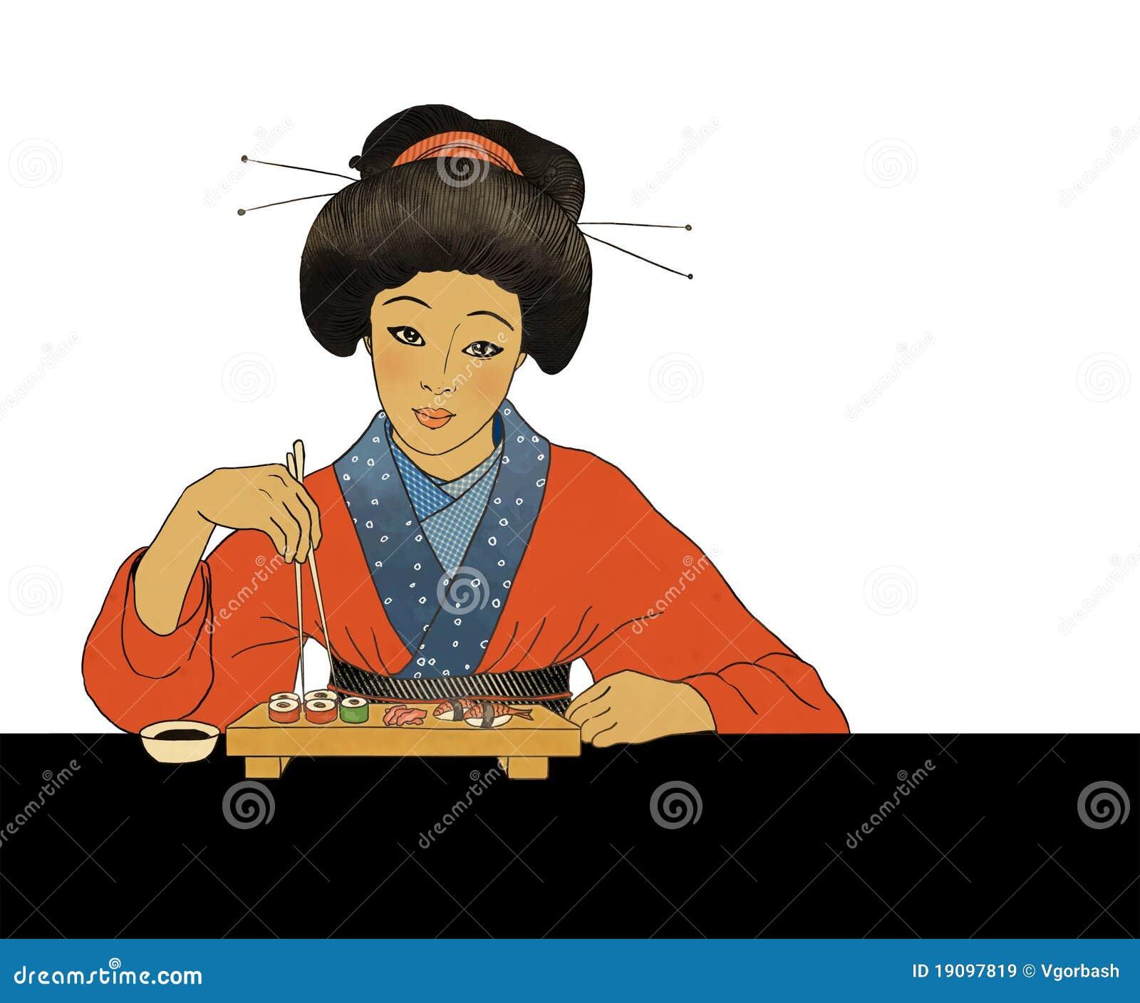 fille japonaise traditionnelle mangeant des sushi images. Black Bedroom Furniture Sets. Home Design Ideas