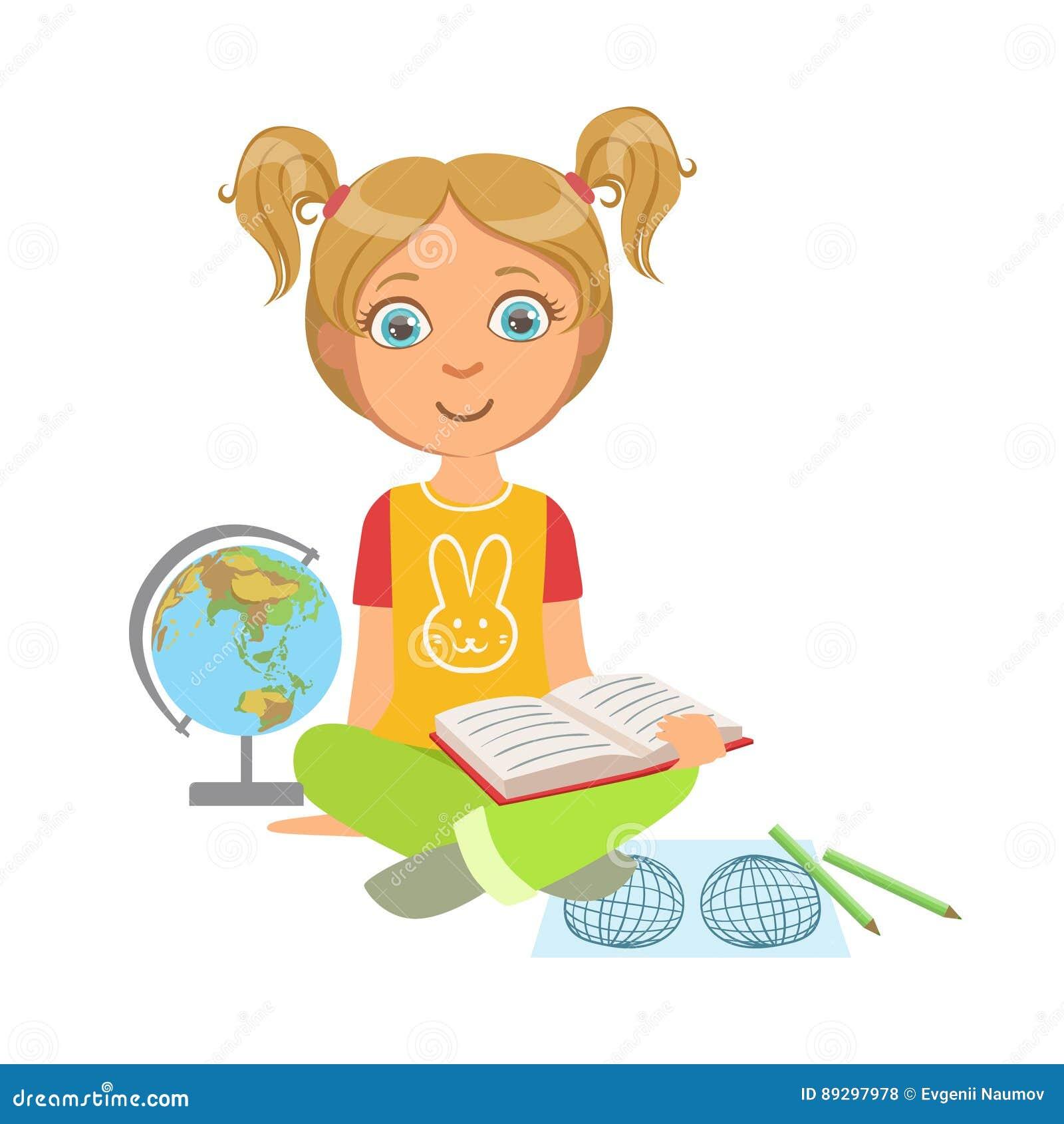 Fille Lisant Un Livre De Geographie Une Partie D Enfants