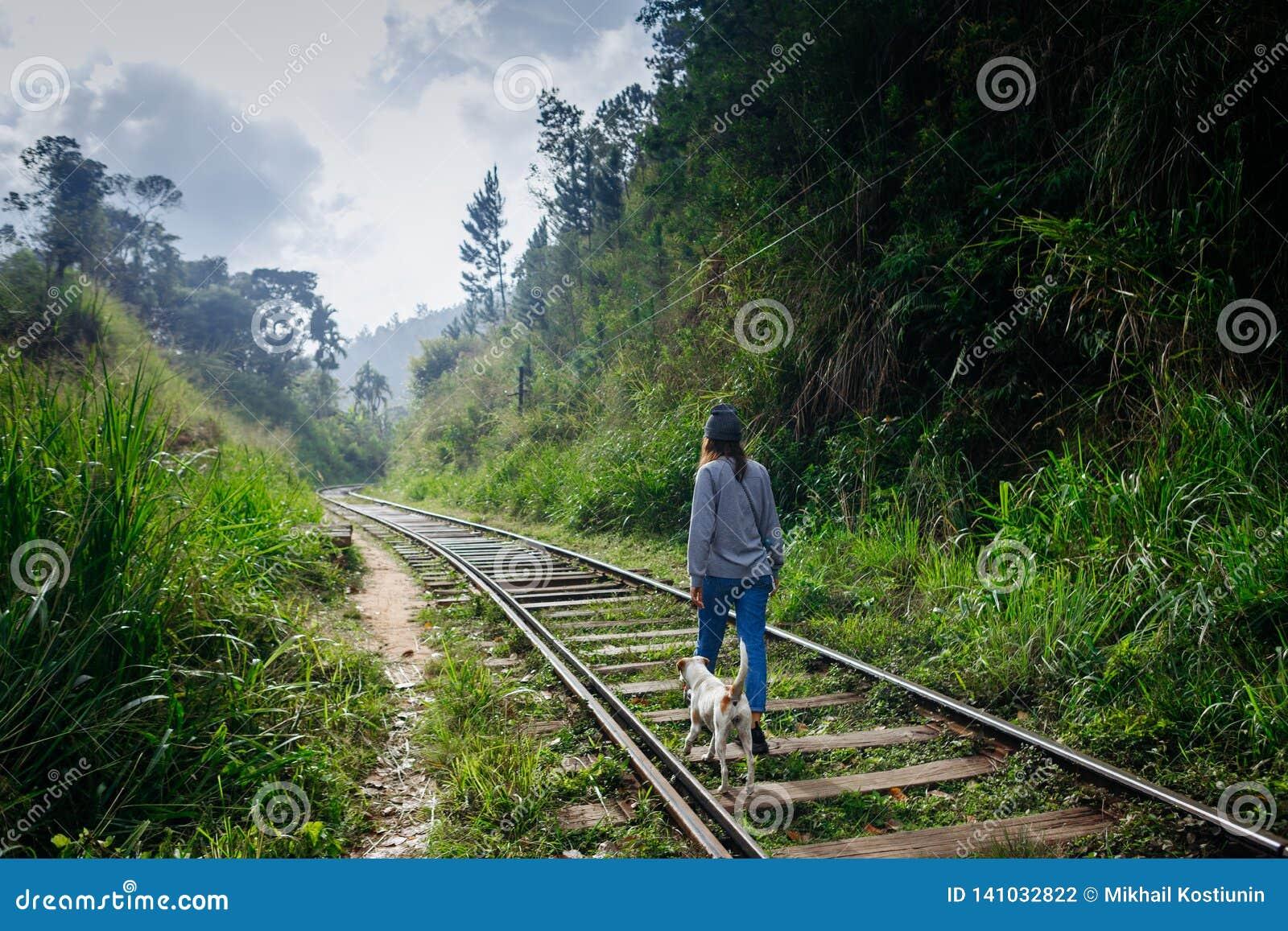 Fille marchant avec le chien sur le chemin de train Voyage d aventure