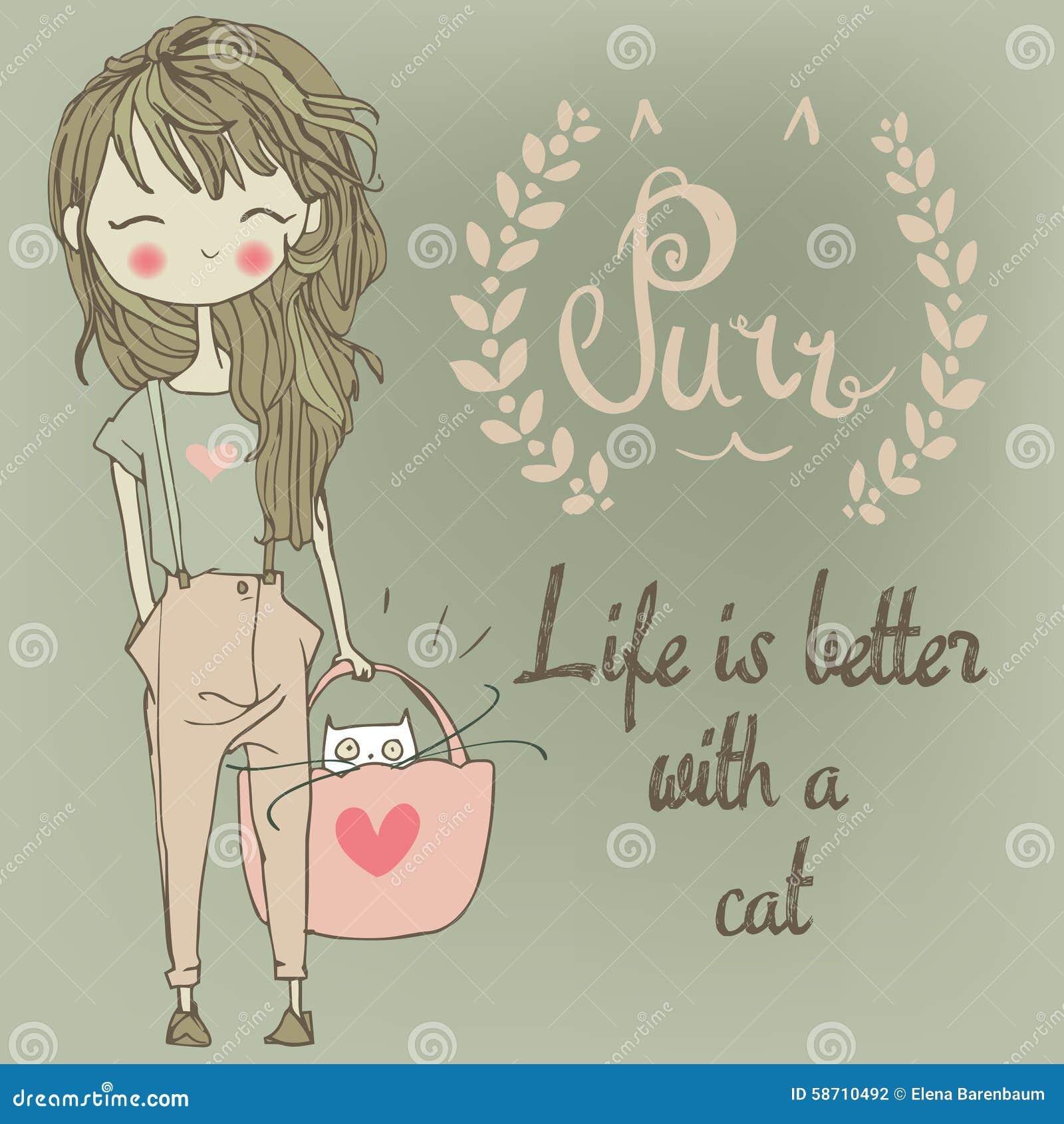 Fille mignonne avec le chat