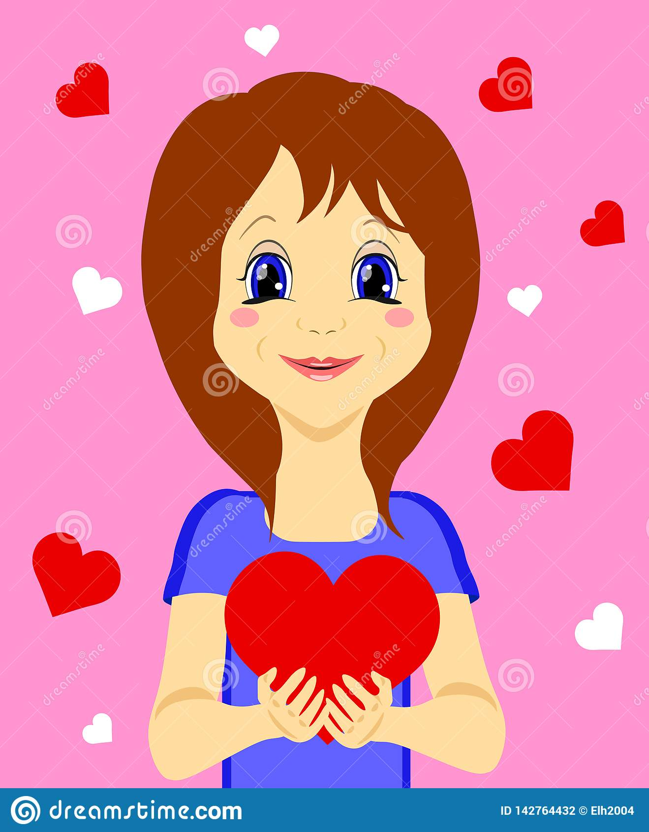 Fille mignonne avec le coeur dans des ses mains d isolement sur le fond rose
