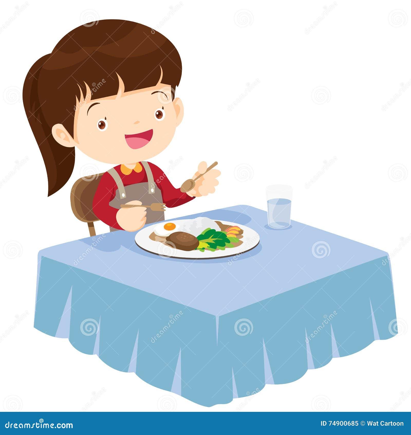 Fille mignonne mangeant si heureux et délicieux