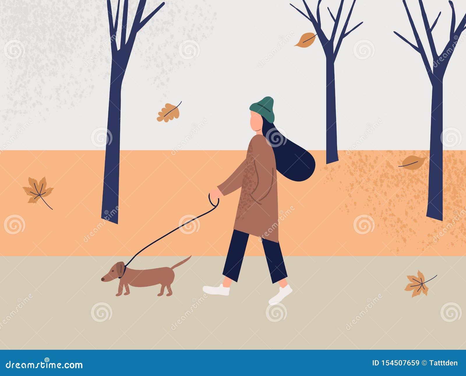 Fille mignonne seul marchant avec le chien en parc à l automne Paysage apaisant de chute Illustration color?e de vecteur dans le