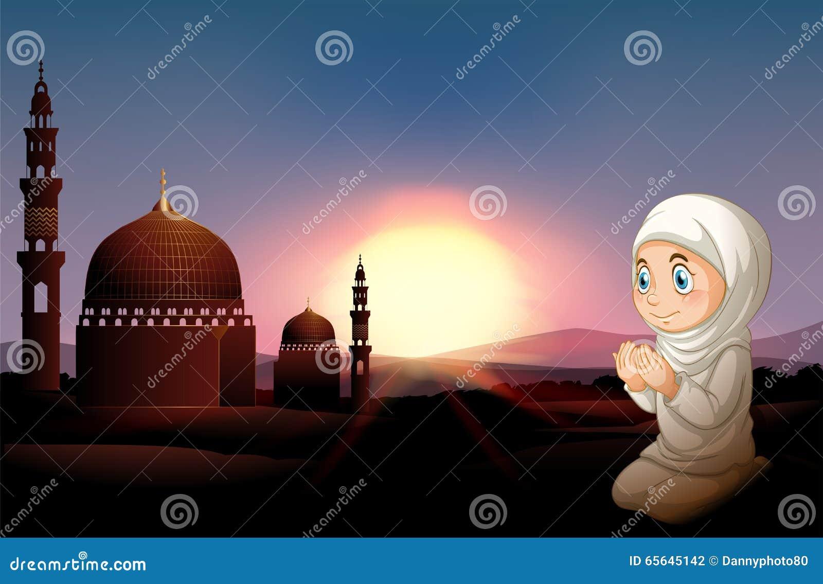 Fille musulmane priant à la mosquée