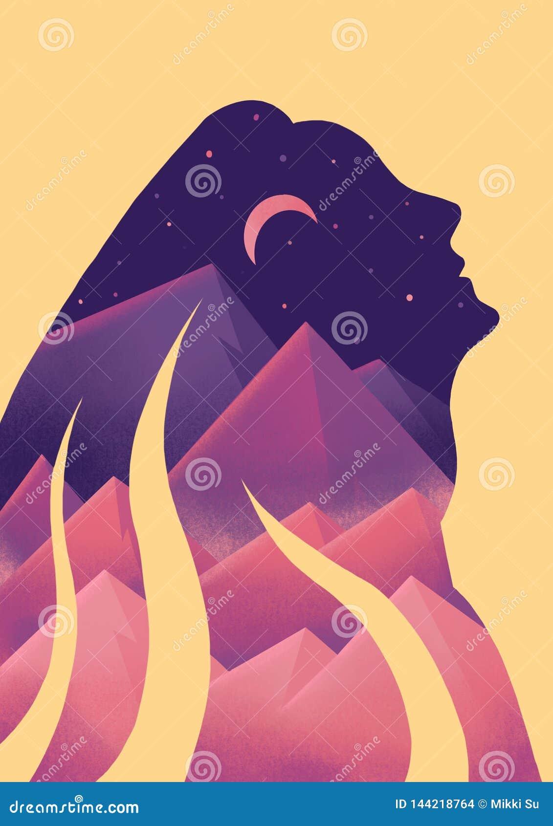Fille mystérieuse dans les montagnes