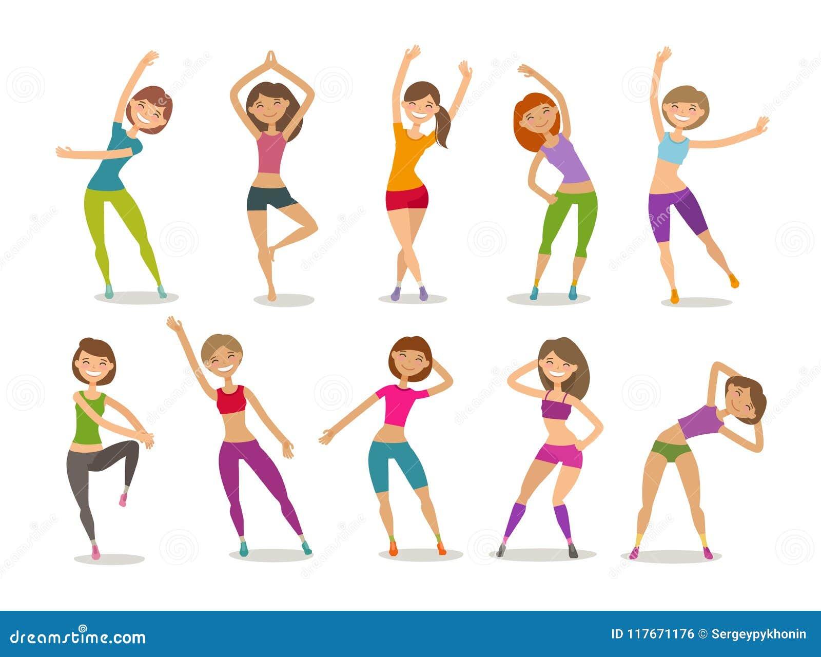 Fille ou forme physique engagée par jeune femme dans le gymnase Sport, aérobic, concept sain de mode de vie Vecteur drôle de band
