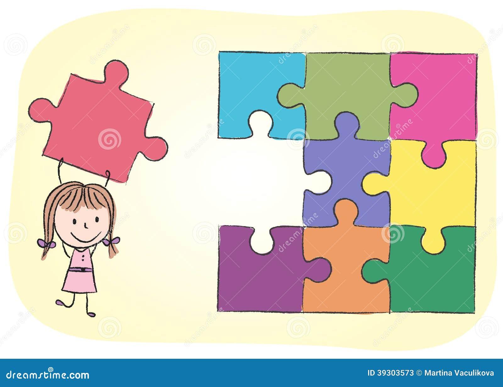 Fille r solvant le puzzle illustration de vecteur illustration du fixation 39303573 - Puzzle dessin ...