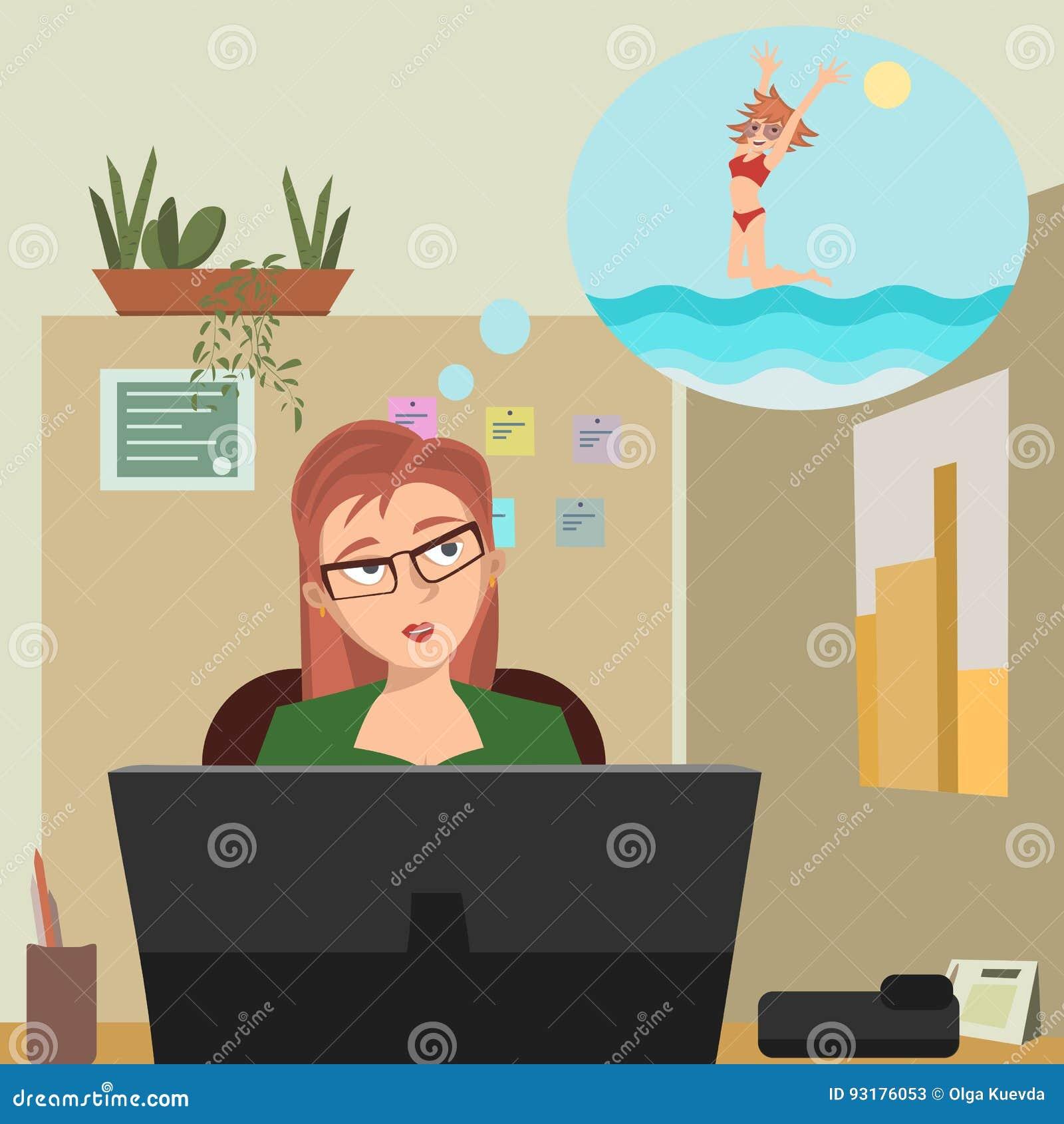 Fille rêvant des vacances au compartiment de bureau