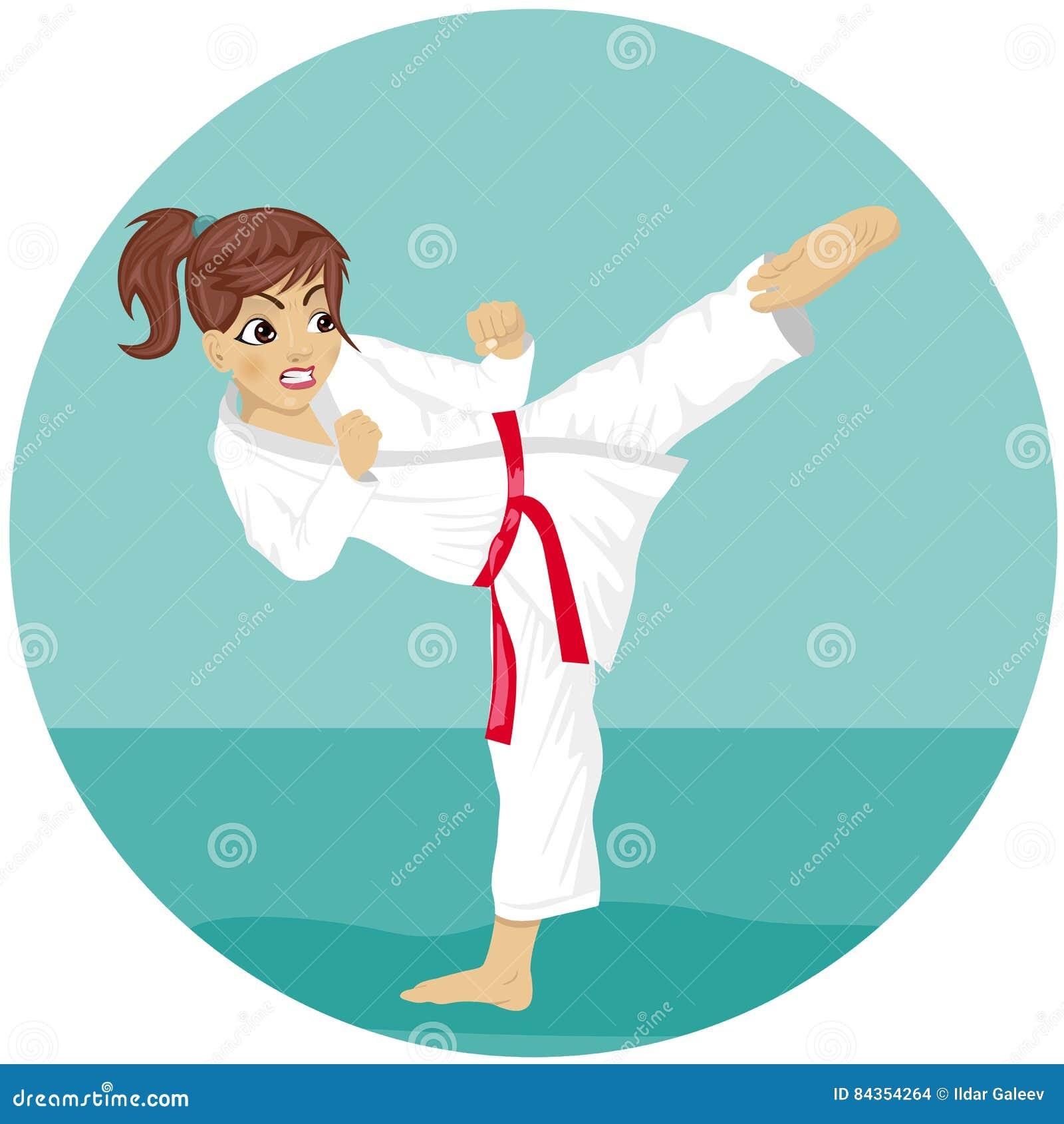 Fille rouge de karaté de ceinture de jeune adolescent dans l exercice de pratique de coup-de-pied de kimono