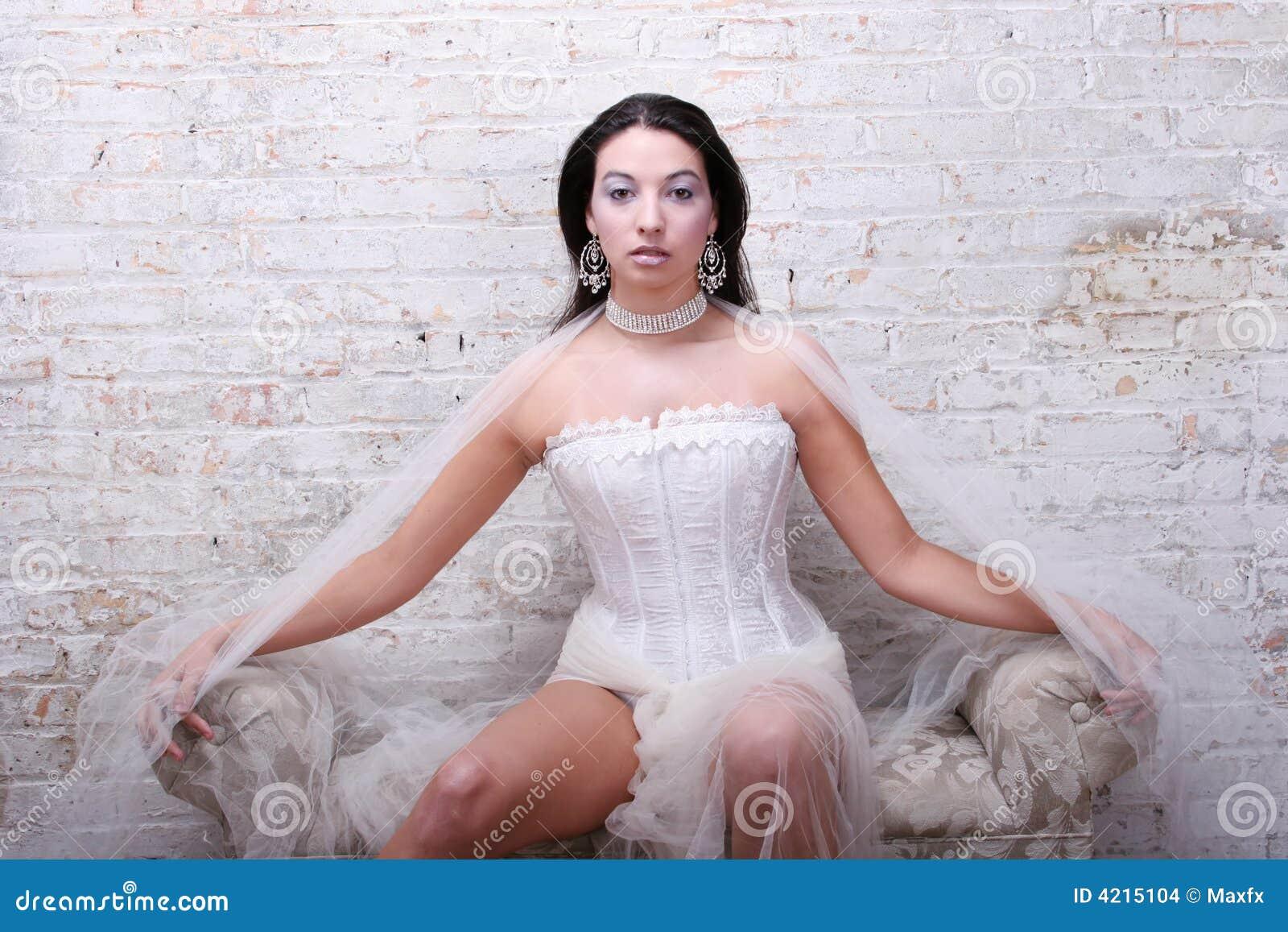 Corset Susant De Fille Sexy De Brunette Photo stock