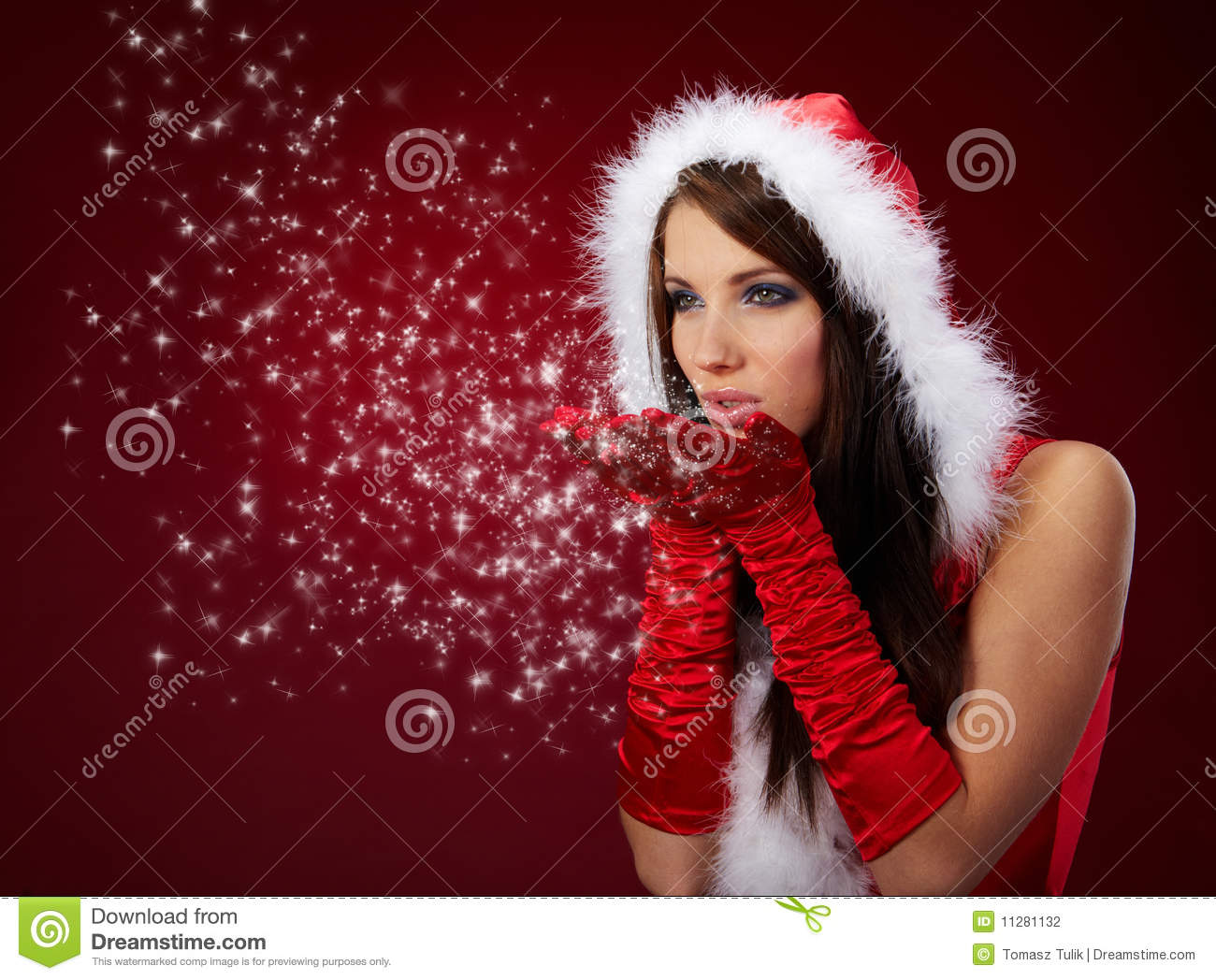 fdf3ec94fa6 Fille Sexy Portant Des Vêtements Du Père Noël Photo stock - Image du ...
