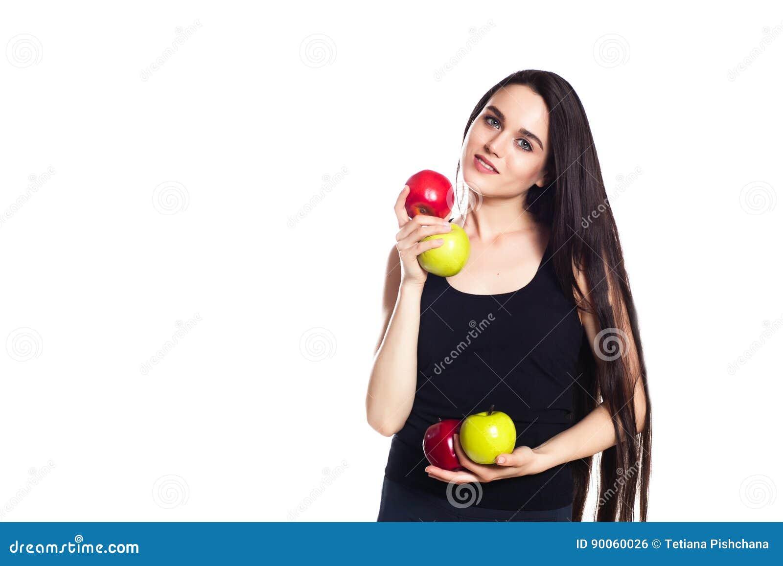 fille sportive avec des pommes portrait de la belle jeune femme caucasienne de sport l 39 espace. Black Bedroom Furniture Sets. Home Design Ideas