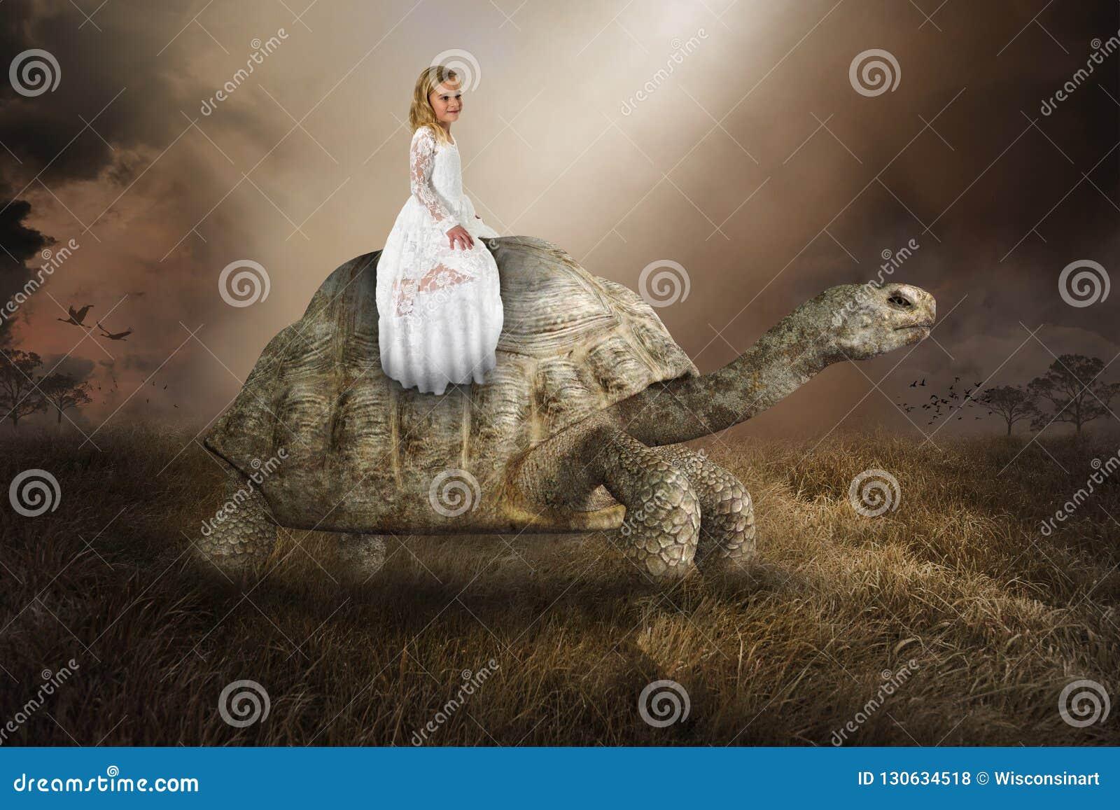 Fille surréaliste, tortue, tortue, nature, paix, amour
