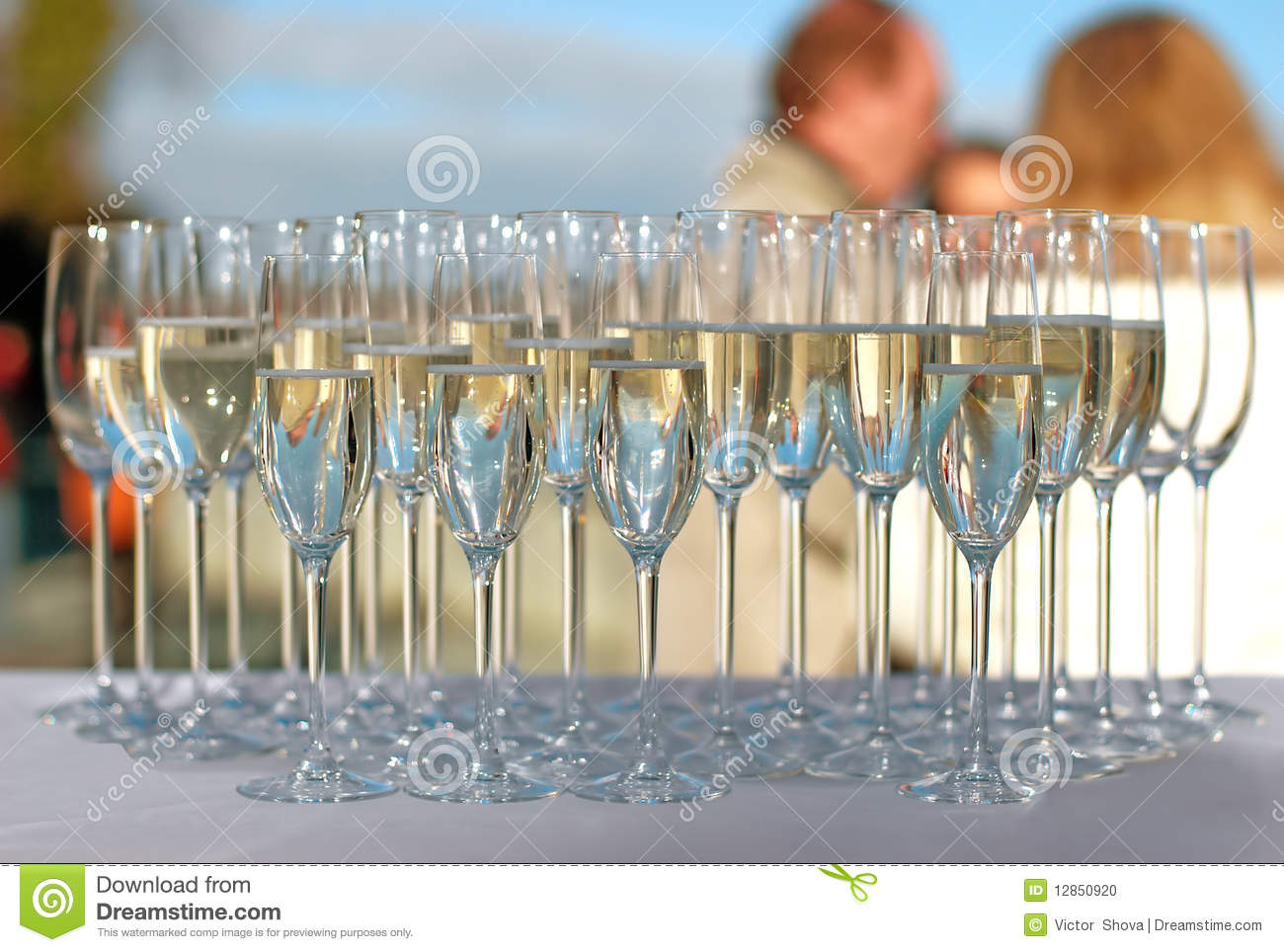 filled champagne glasses on a cocktail party stock photo image 12850920. Black Bedroom Furniture Sets. Home Design Ideas