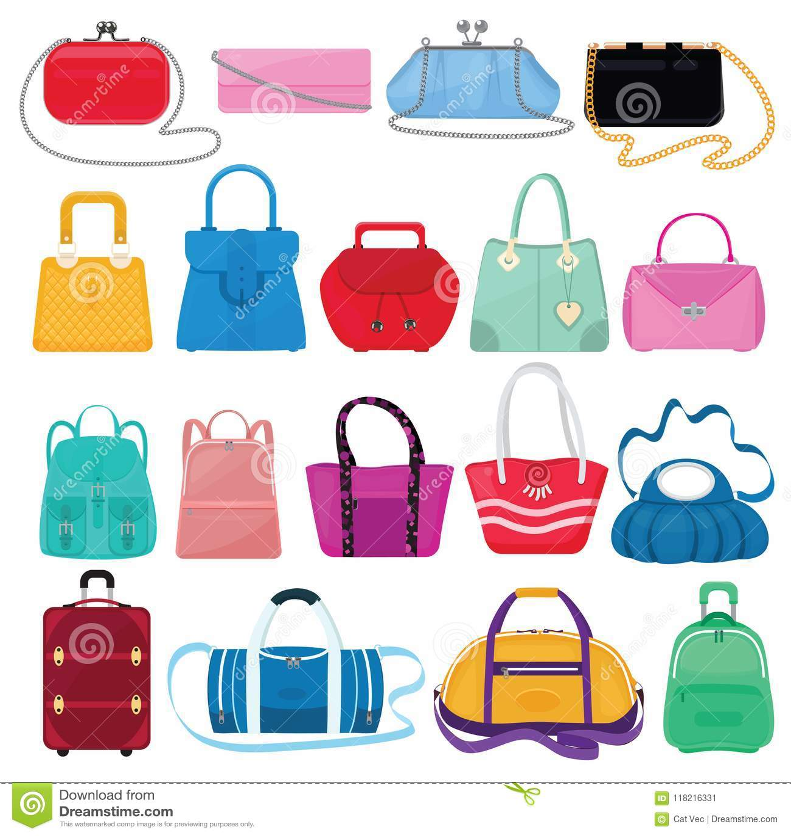 Filles sac à main ou bourse et panier ou embrayage de vecteur de sac de femme de l ensemble ample d illustration de magasin de mo