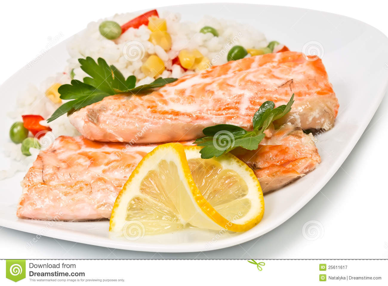 Grilled Salmon Fillet With Rice