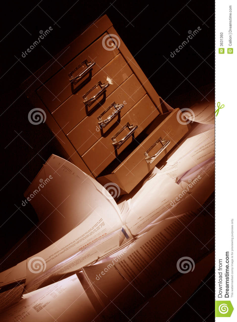 Filling Cabinet With Documents All Over The Floor Stock