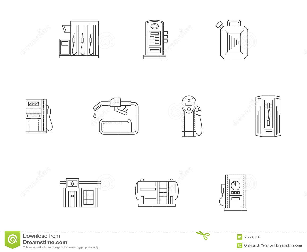 filling and charge station flat line icons stock illustration