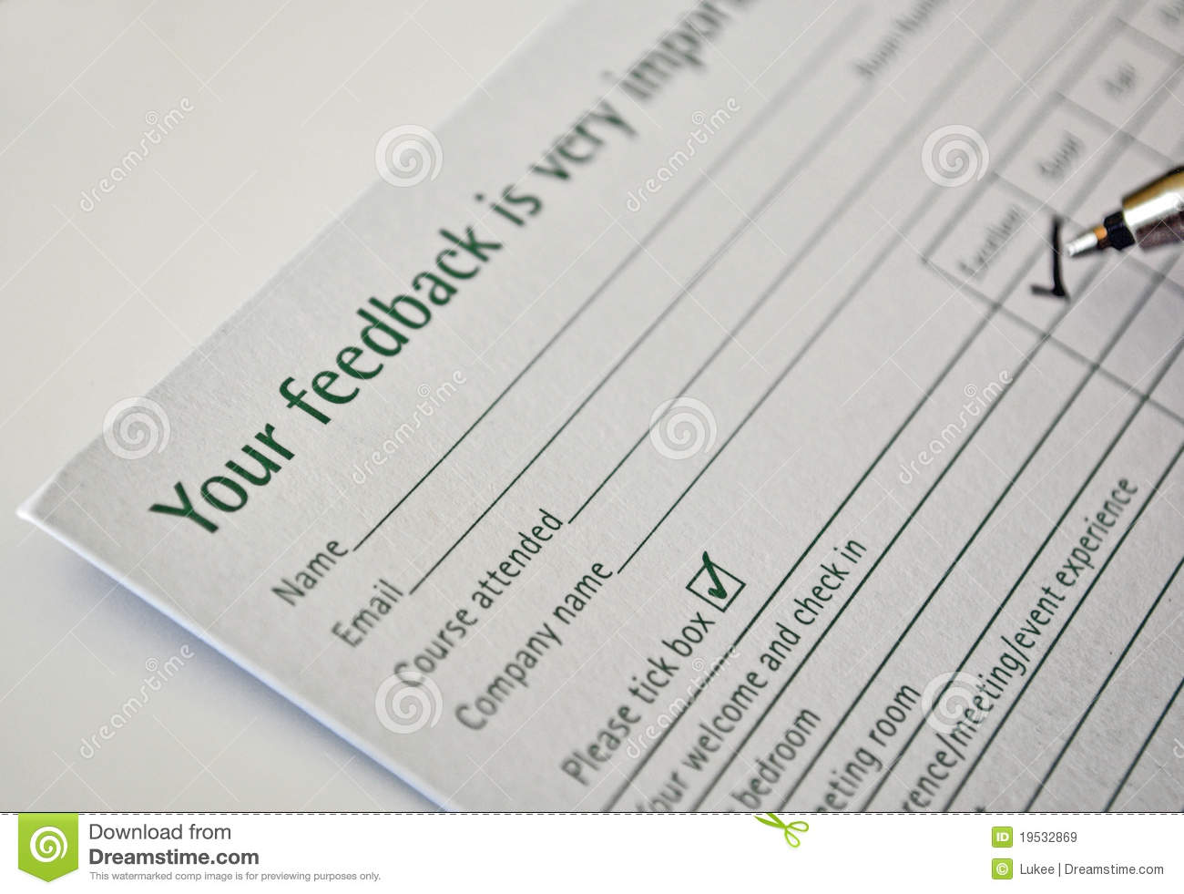 Filling Feedback Form Stock Image Image Of Business 19532869