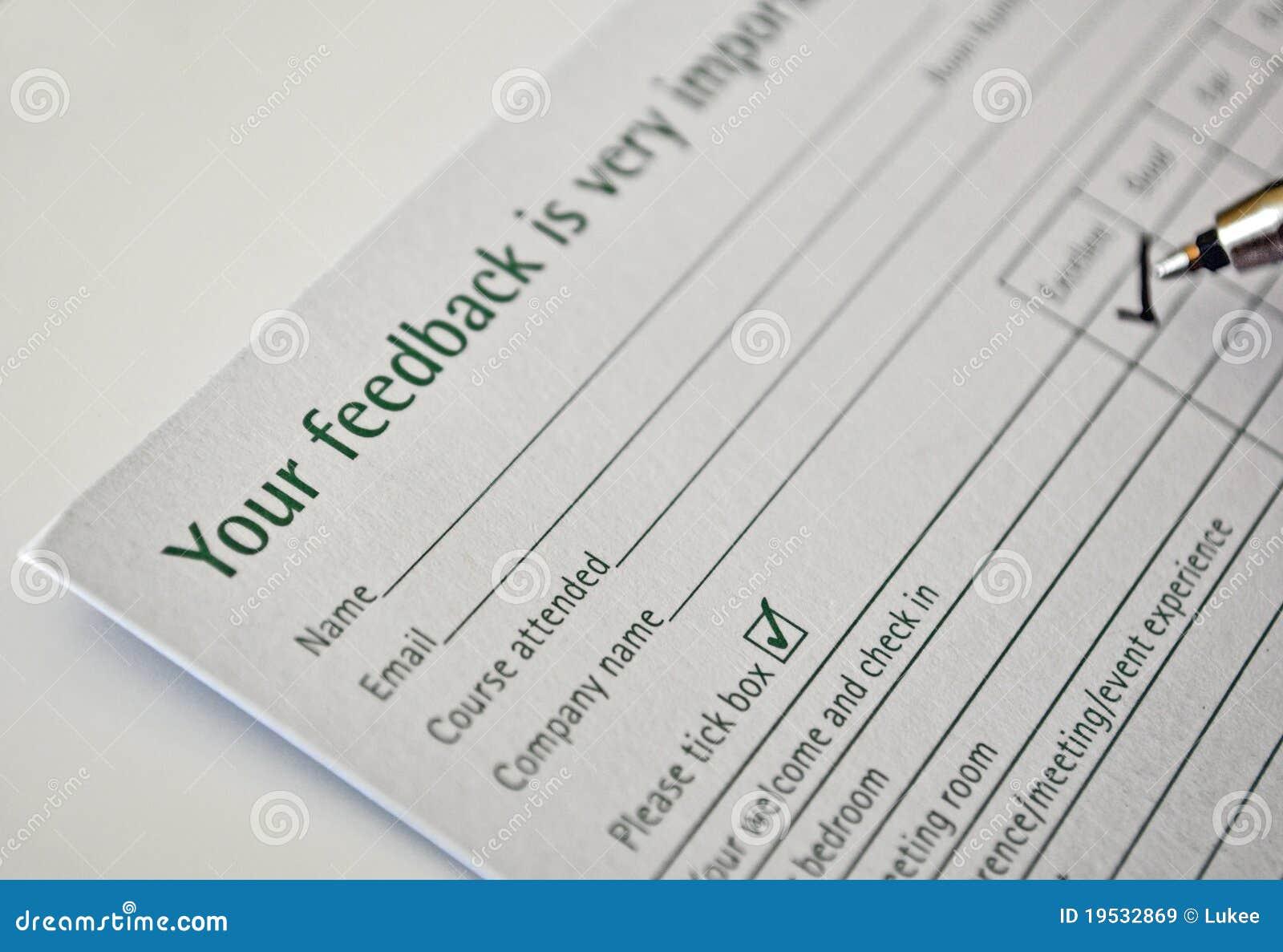 Filling Feedback Form  Free Feedback Form