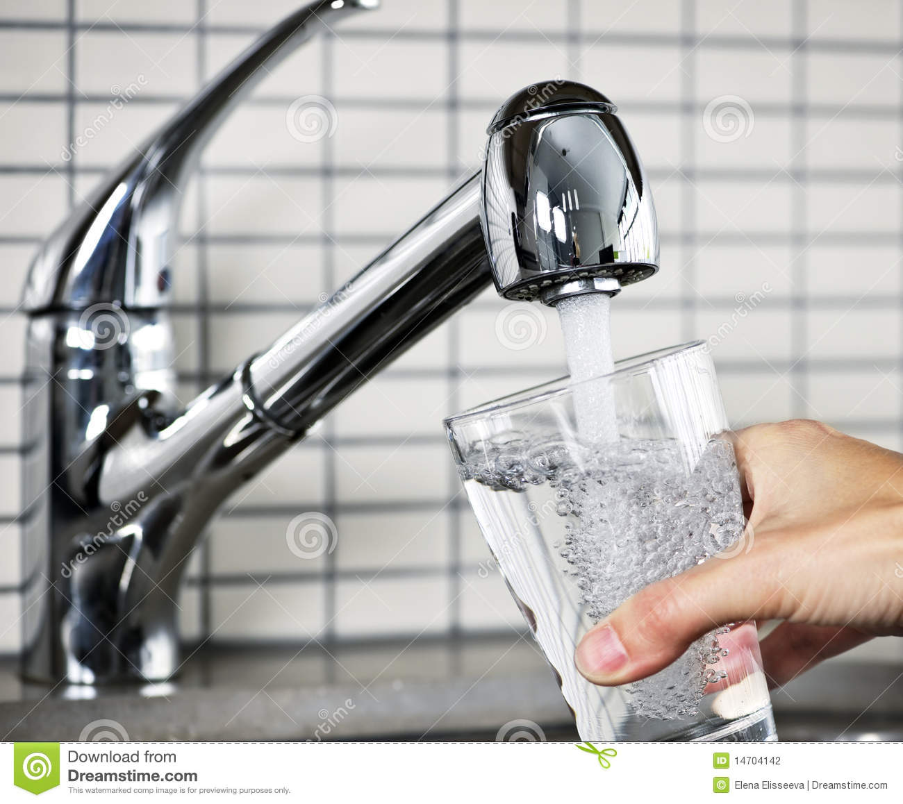 Filling glass of tap water