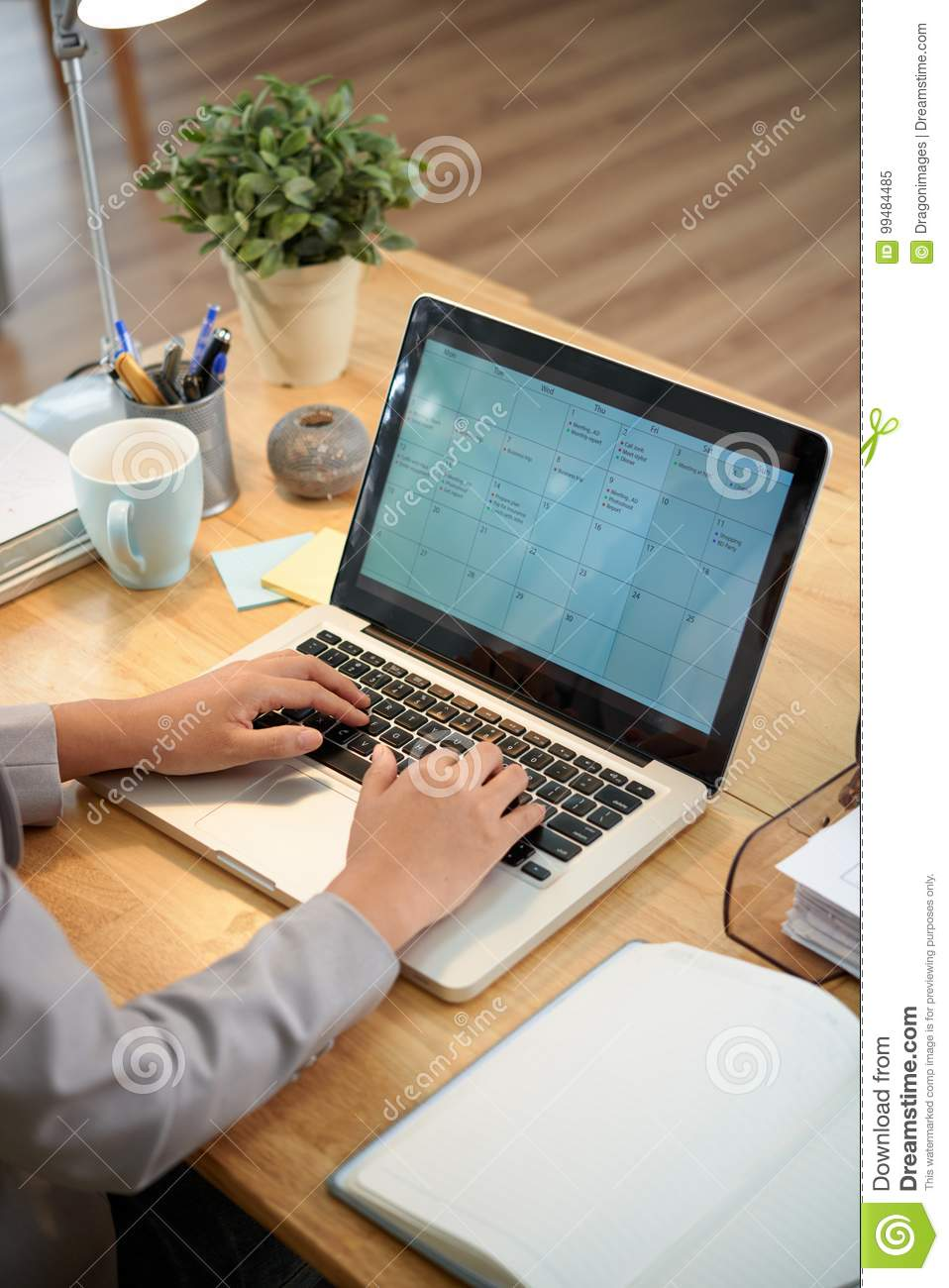 filling online calender stock image image of hands office 99484485