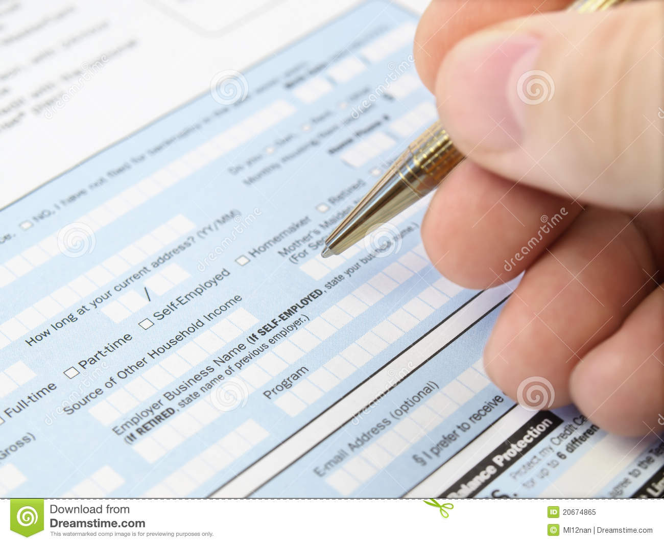 filling out a application